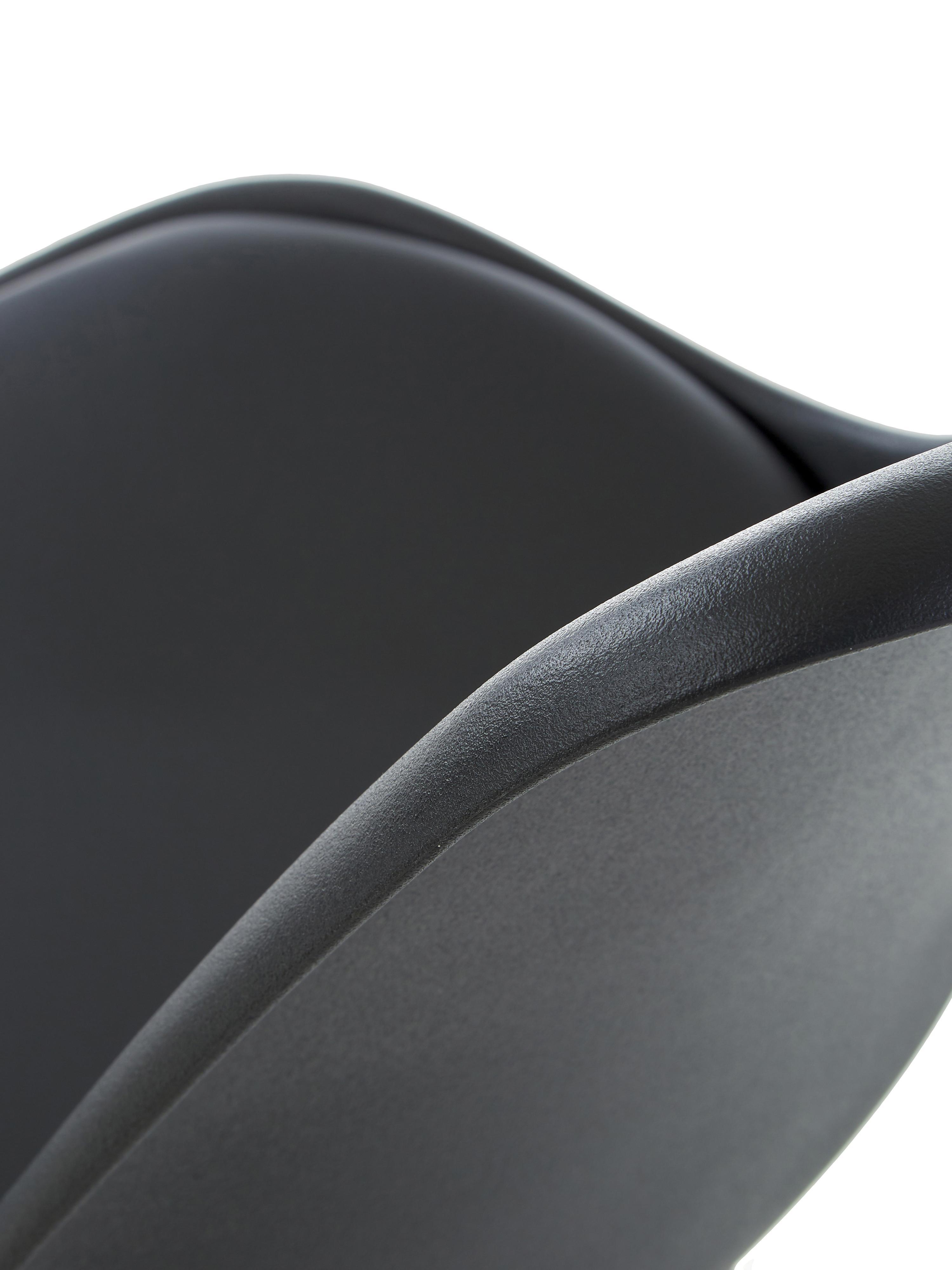 Esszimmerstühle Elin, 2 Stück, Sitzschale: Kunststoff, Bezug: Kunstleder (100% Polyuret, Beine: Gummibaumholz, lackiert, Schwarz, B 49 x T 42 cm