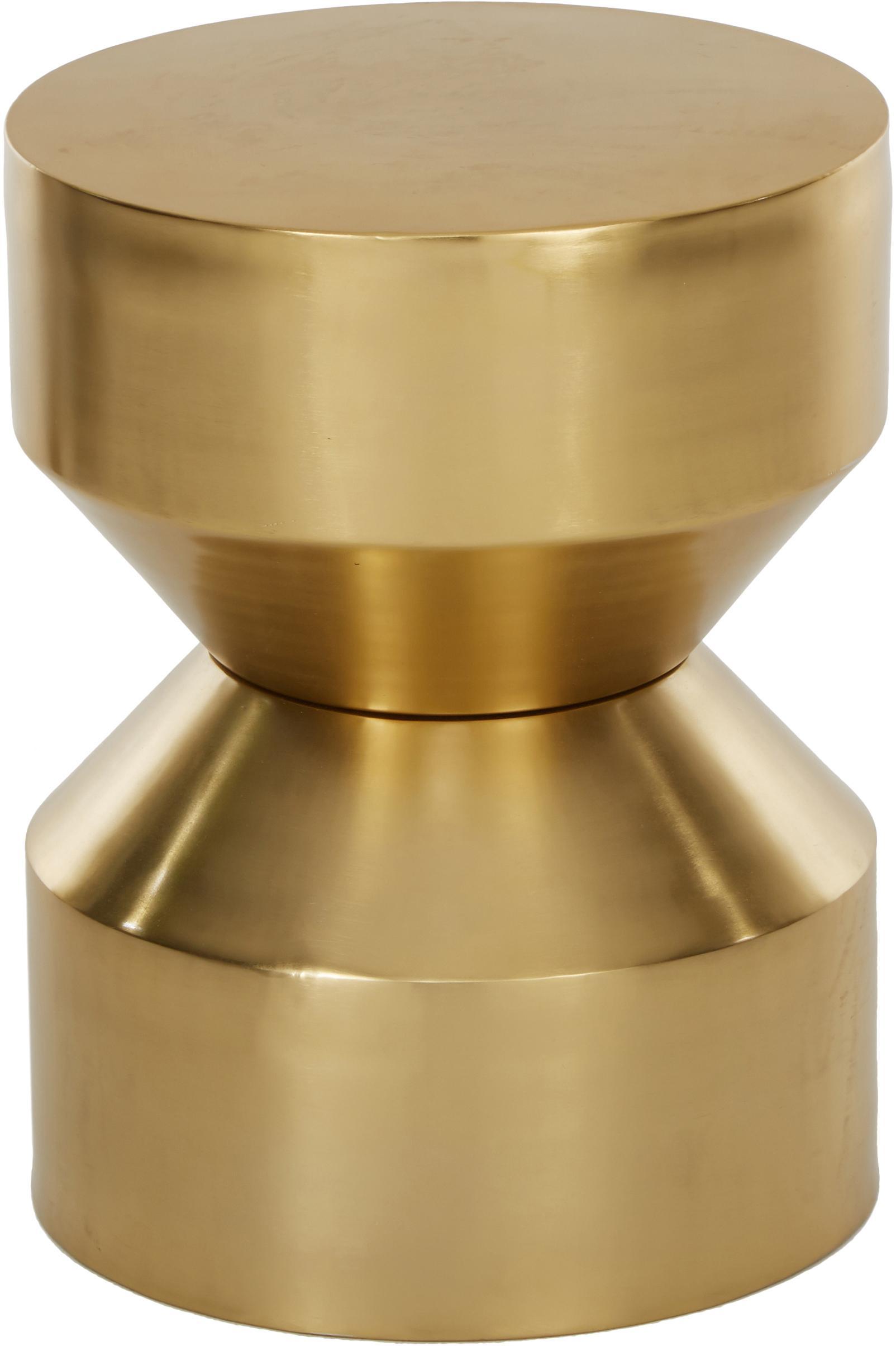 Mesa auxiliar Juliana, Metal recubierto, Dorado, ligeramente brillante, Ø 36 x Al 45 cm