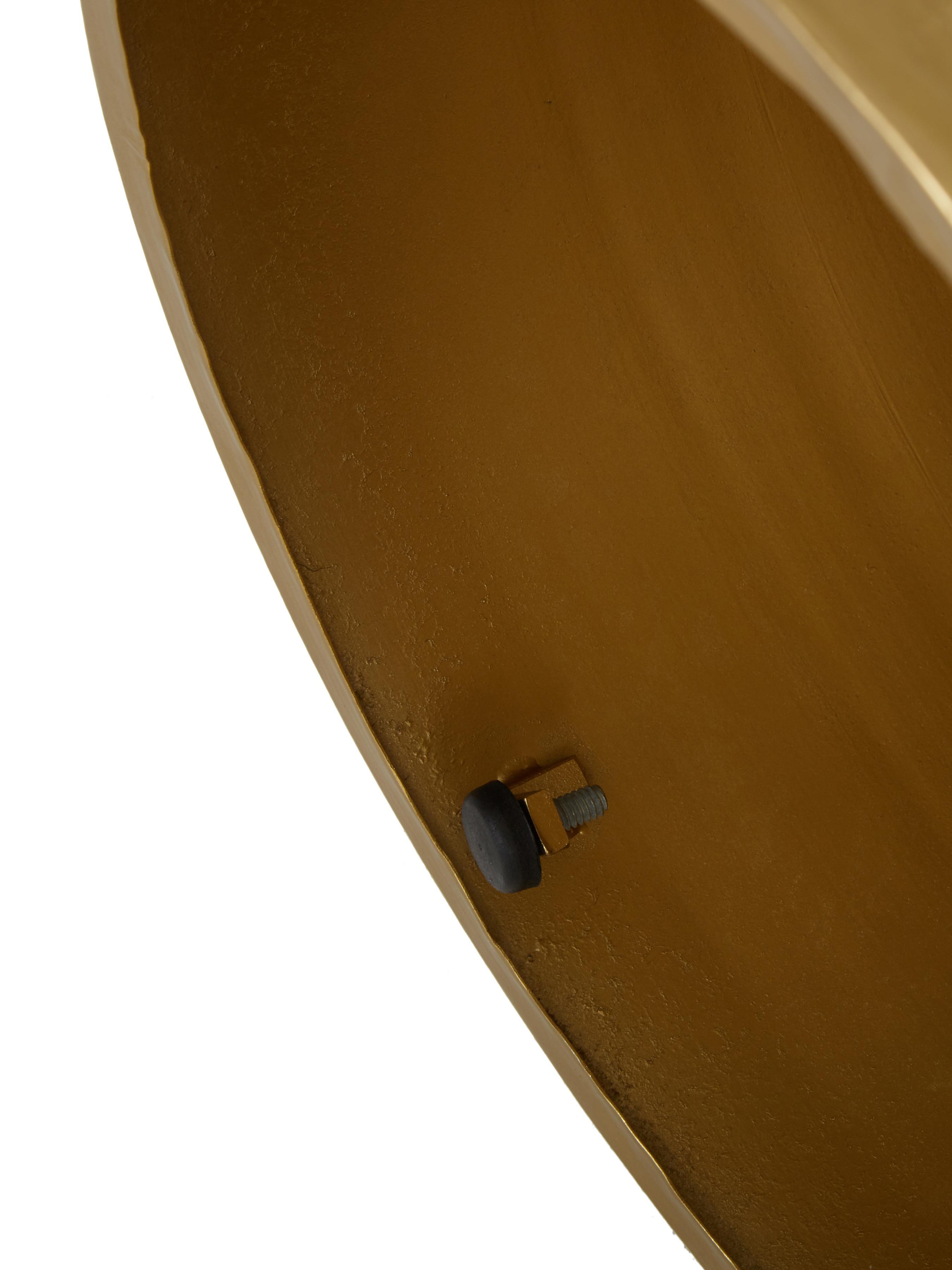 Tavolino in metallo Juliana, Metallo rivestito, Dorato leggermente lucido, Ø 36 x Alt. 45 cm