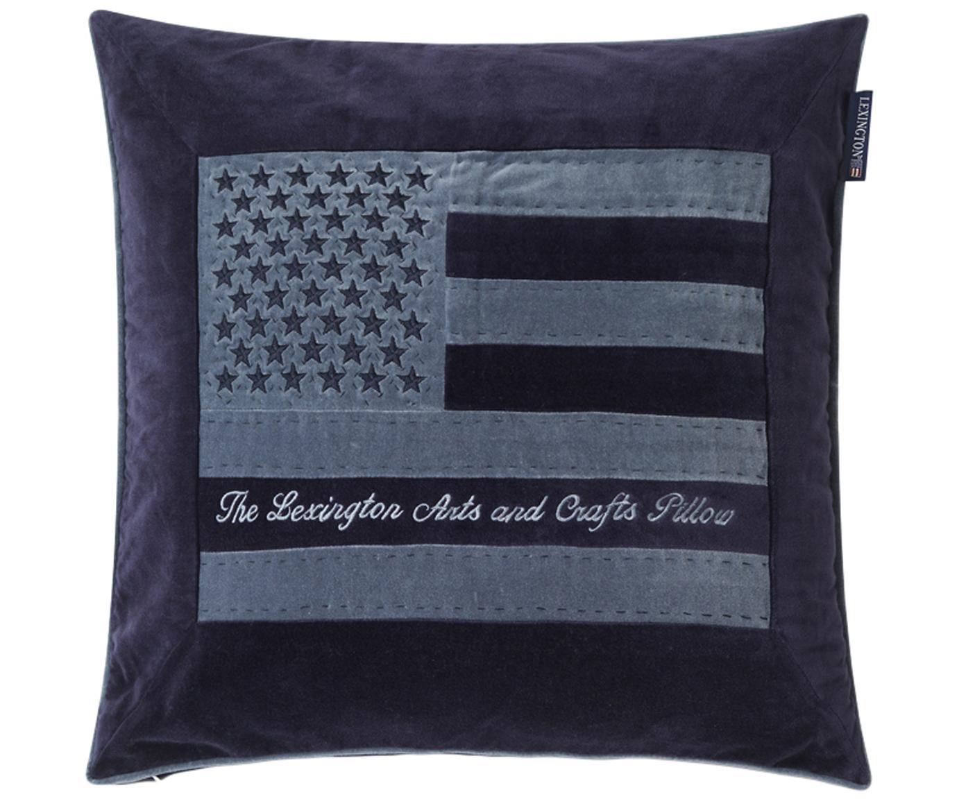 Poszewka na poduszkę z aksamitu Arts & Crafts, Aksamit bawełniany, Ciemny niebieski, niebieski, S 50 x D 50 cm