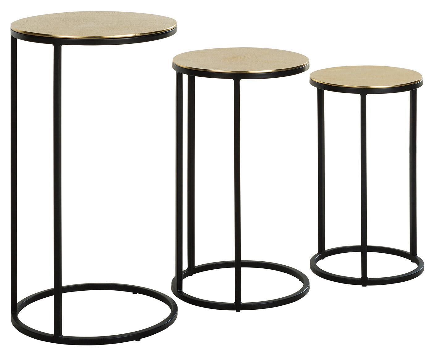 Set 3 tavolini in metallo Calvin, Ripiani: alluminio rivestito, Struttura: metallo verniciato, Dorato con  finitura antica, Diverse dimensioni