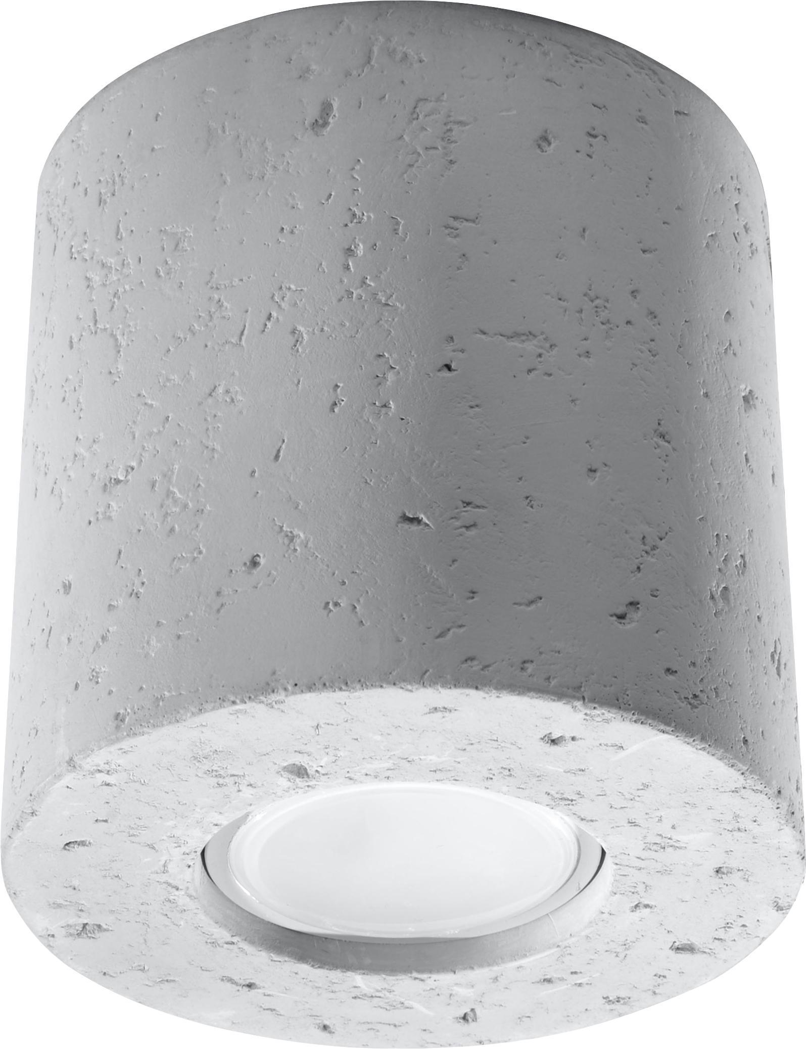Faretto da soffitto in cemento Roda, Cemento, Grigio chiaro, Ø 10 x Alt. 12 cm