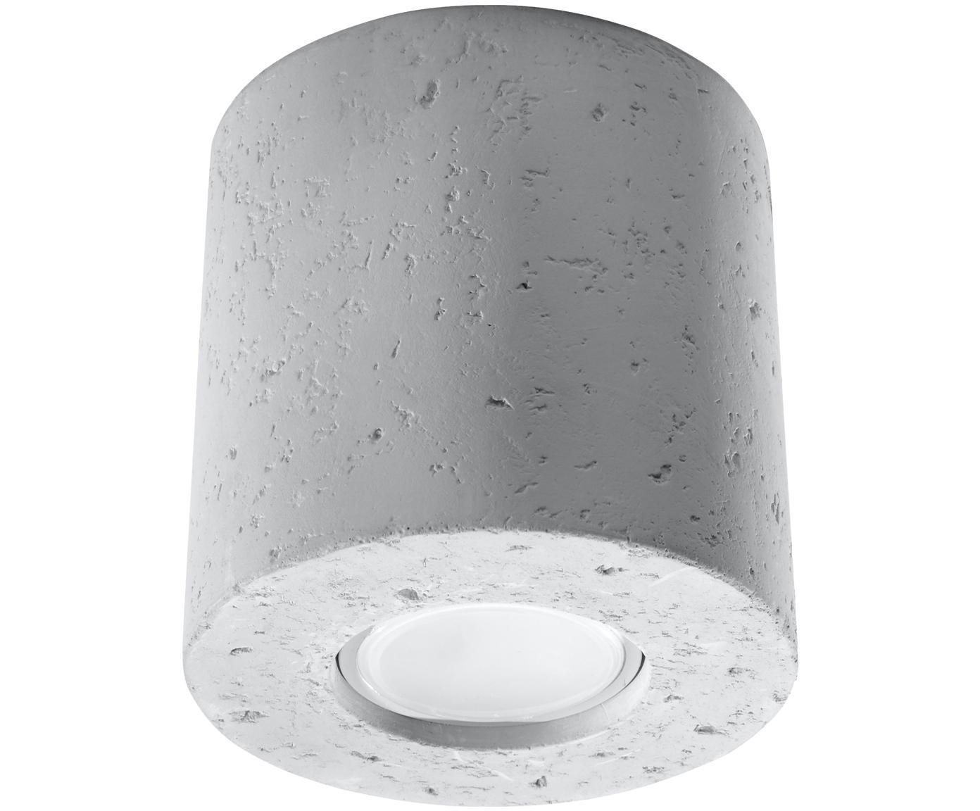 Deckenspot Roda aus Beton, Beton, Hellgrau, Ø 10 x H 10 cm