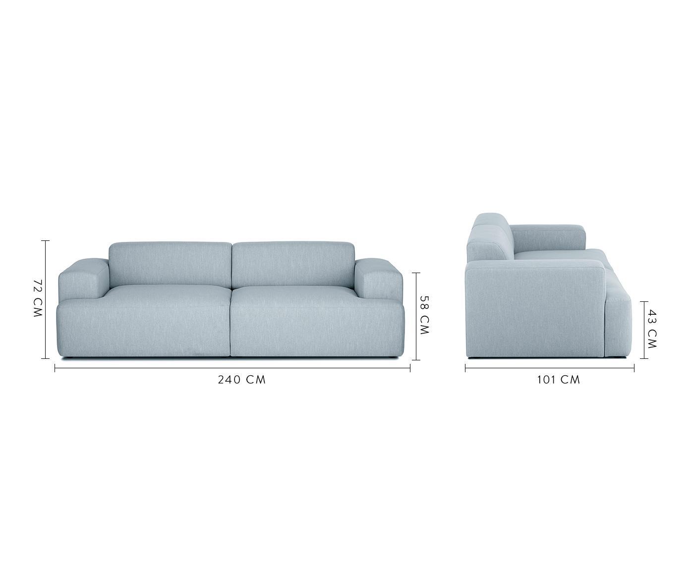 Sofa Melva (3-Sitzer), Bezug: Polyester 35.000 Scheuert, Gestell: Massives Kiefernholz, Spa, Füße: Kiefernholz, Webstoff Blaugrau, B 240 x T 101 cm