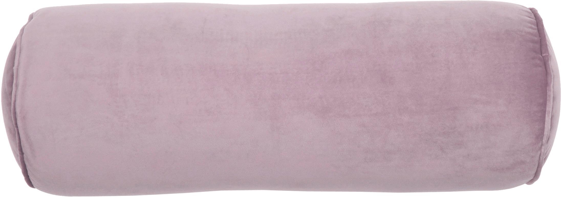 Cuscino a rullo in velluto lucido Monet, Rivestimento: 100% velluto di poliester, Rosa cipria, Ø 18 x Lung. 50 cm