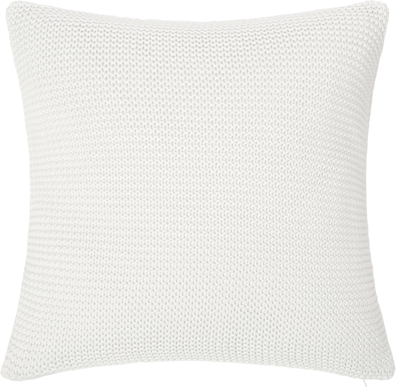 Housse de coussin 50x50 tricot Adalyn, Blanc naturel