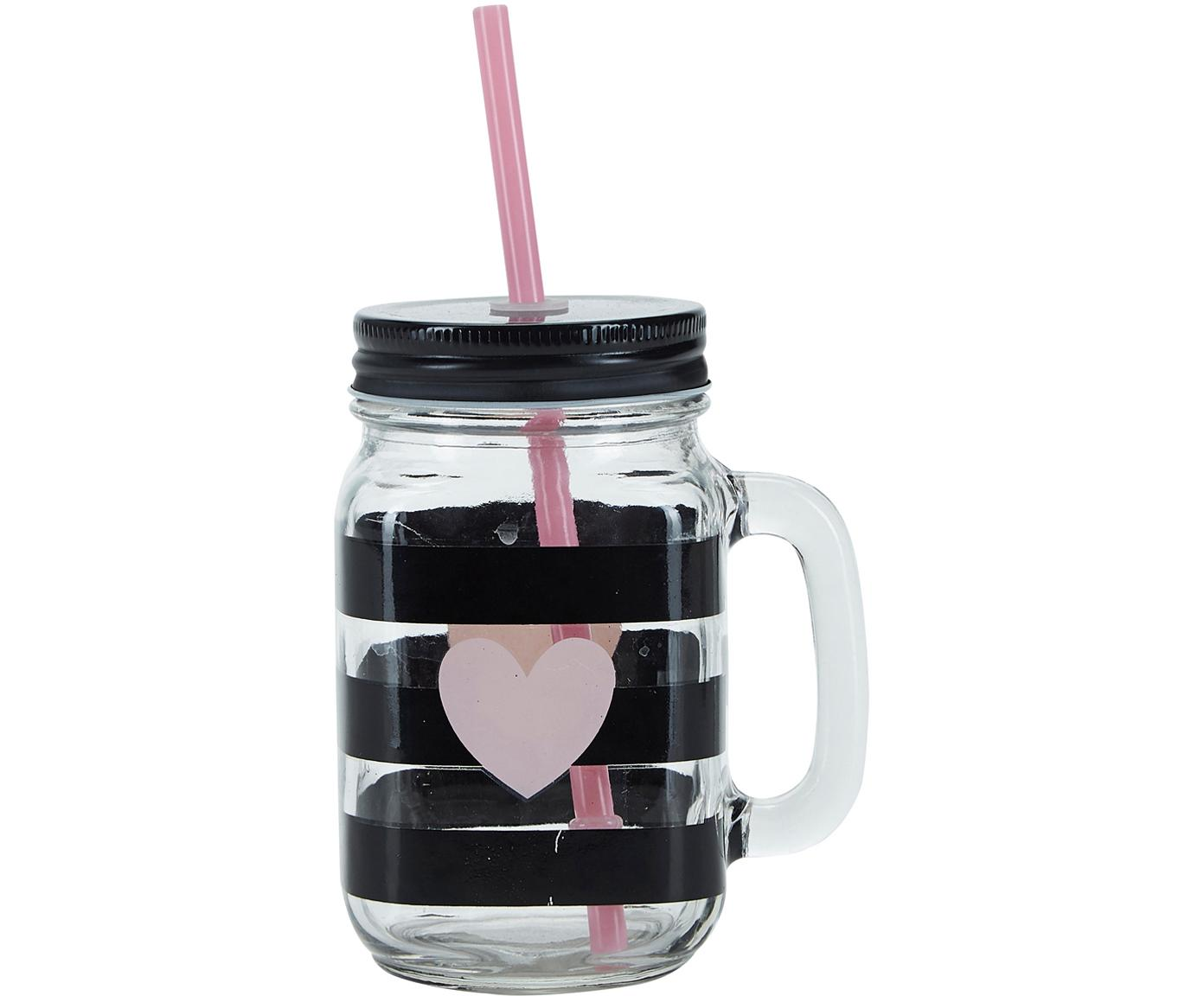 Szklanka ze słomką Stripes & Heart, 2 szt., Transparentny, czarny, różowy, Ø 7 x W 16 cm