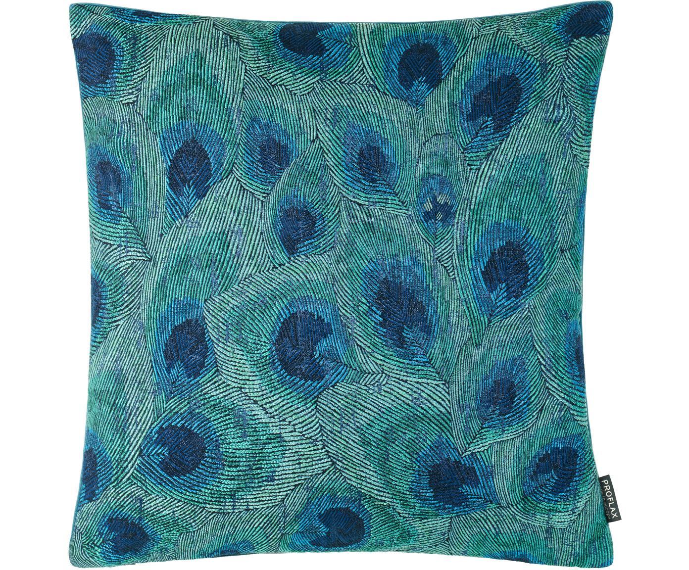 Federa arredo con motivo a piuma Piavone, Retro: velluto di poliestere, Tonalità verdi e blu, Larg. 45 x Lung. 45 cm