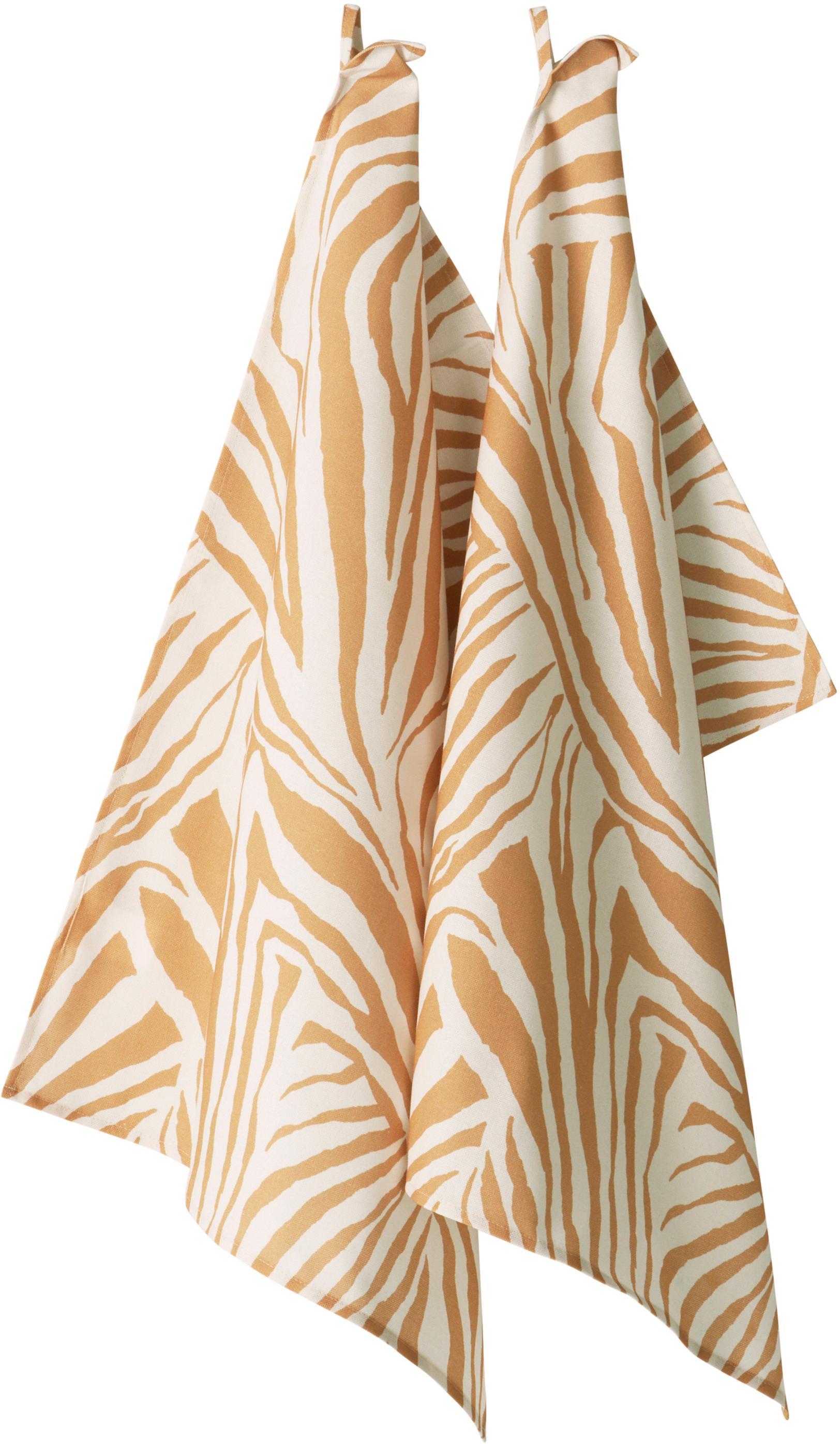 Ręcznik kuchenny Zadie, 2 szt., 100% bawełna pochodząca ze zrównoważonych upraw, Musztardowy, kremowobiały, D 50 x S 70 cm