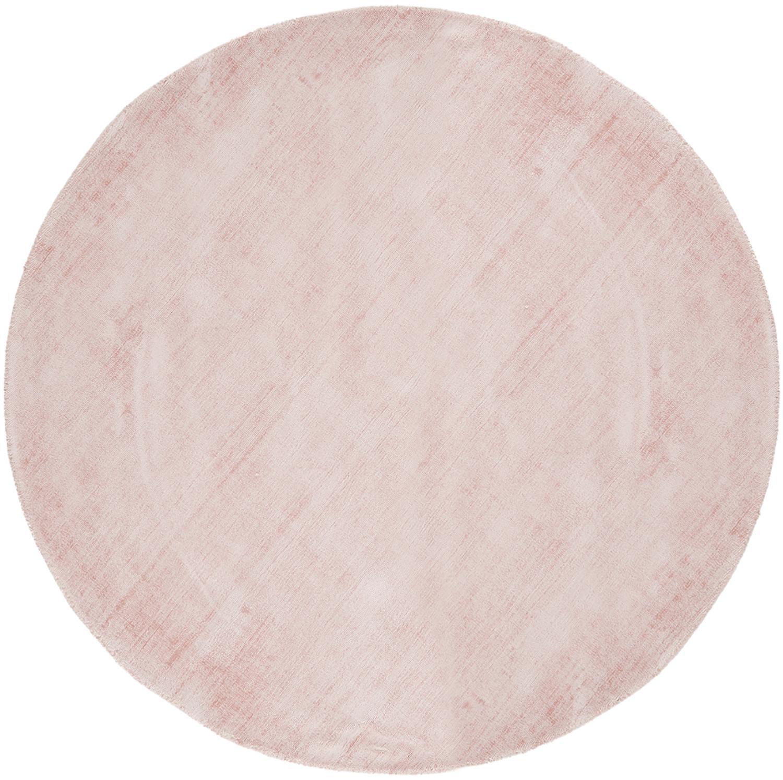 Rond handgeweven viscose vloerkleed Jane in roze, Bovenzijde: 100% viscose, Onderzijde: 100% katoen, Roze, Ø 200 cm (maat L)