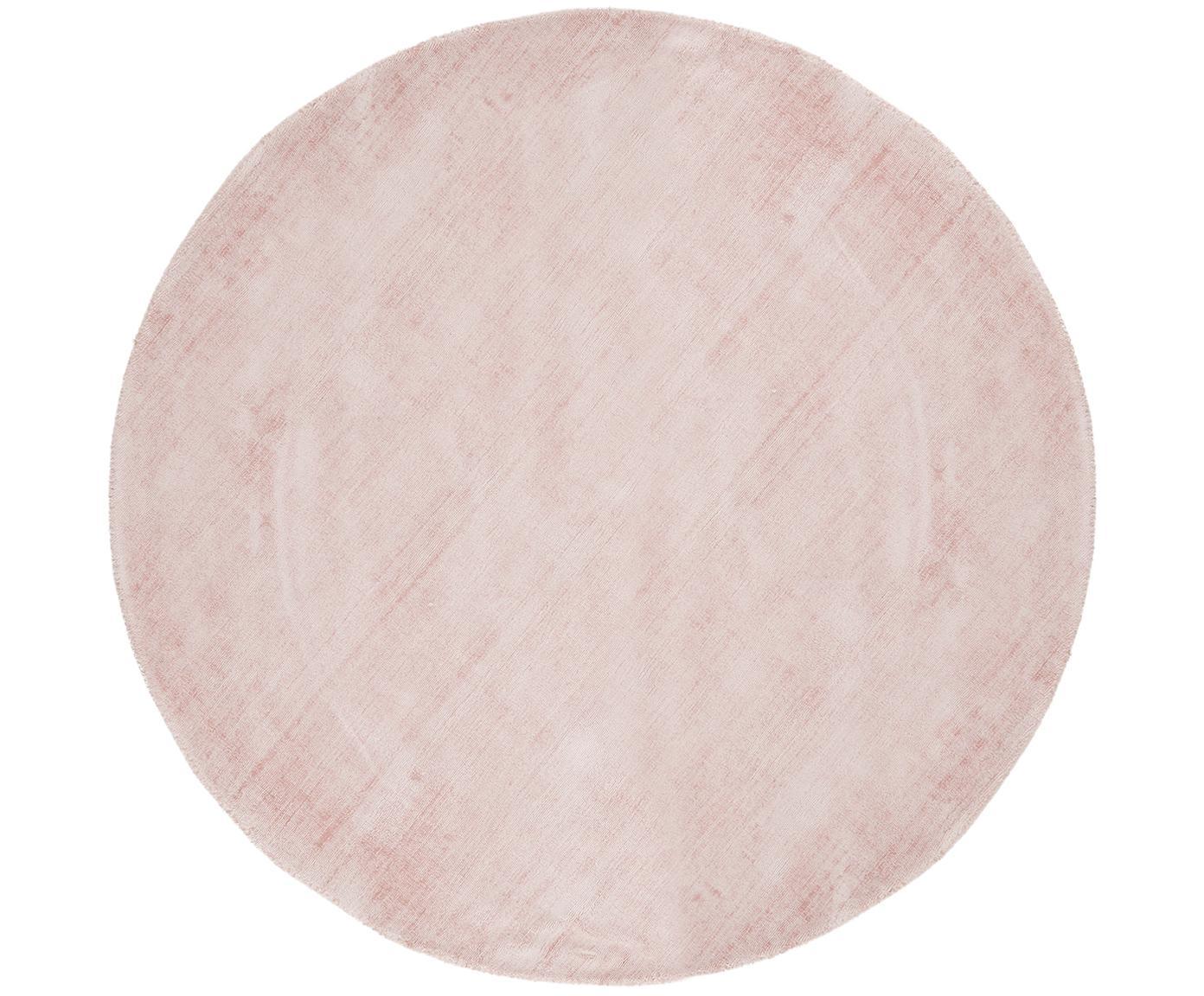 Handgeweven viscose vloerkleed Jane, Bovenzijde: 100% viscose, Onderzijde: 100% katoen, Roze, Ø 200 cm