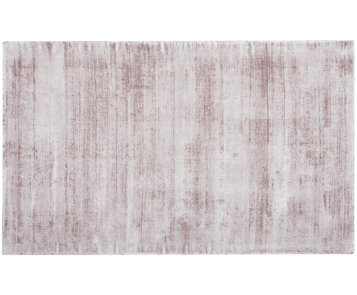 Handgeweven viscose vloerkleed Jane, Bovenzijde: 100% viscose, Onderzijde: 100% katoen, Lila, 90 x 150 cm
