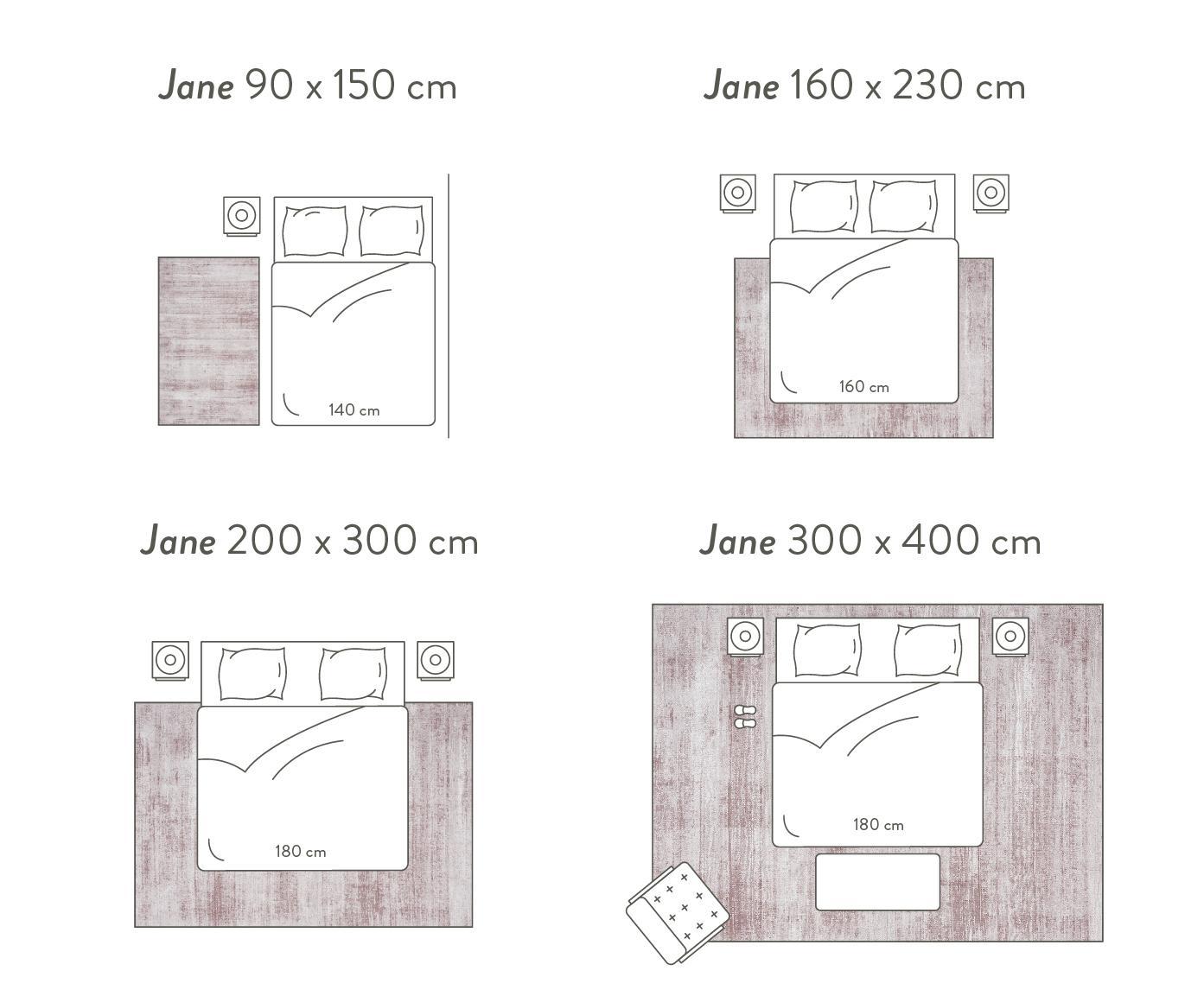 Handgeweven viscose vloerkleed Jane, Bovenzijde: 100% viscose, Onderzijde: 100% katoen, Lila, 160 x 230 cm