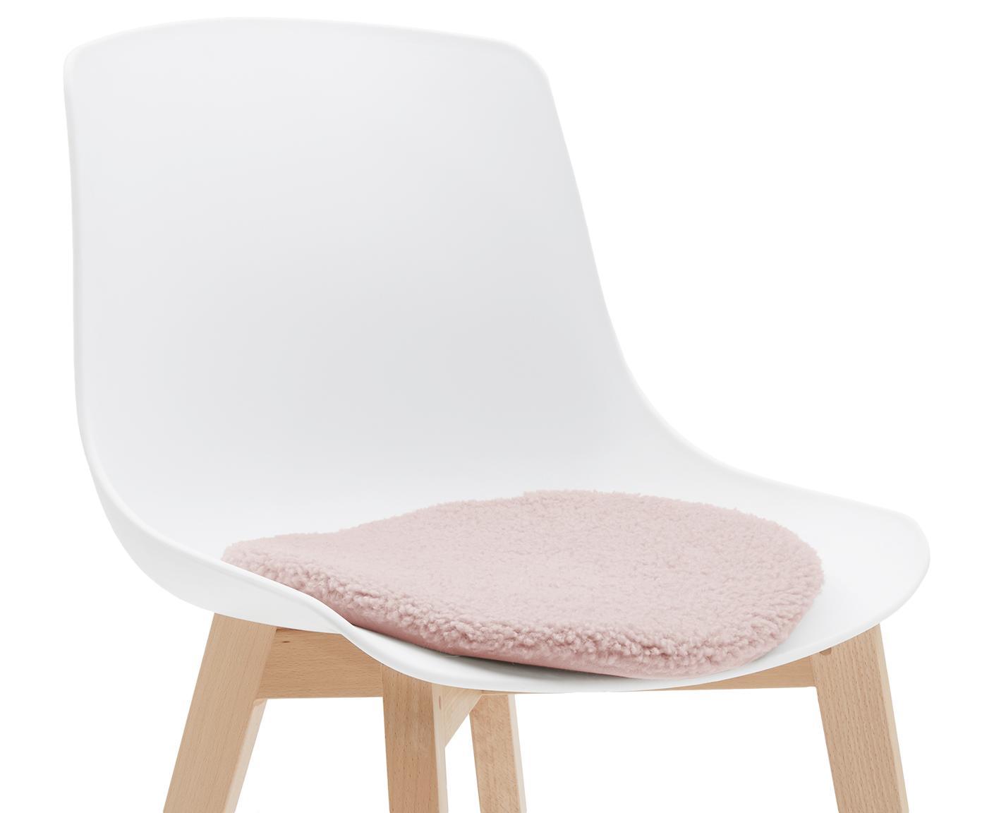 Runde Teddy-Sitzauflage Mille, Vorderseite: 100% Polyester (Teddyfell, Rückseite: 100% Polyester, Rosa, Ø 37 cm