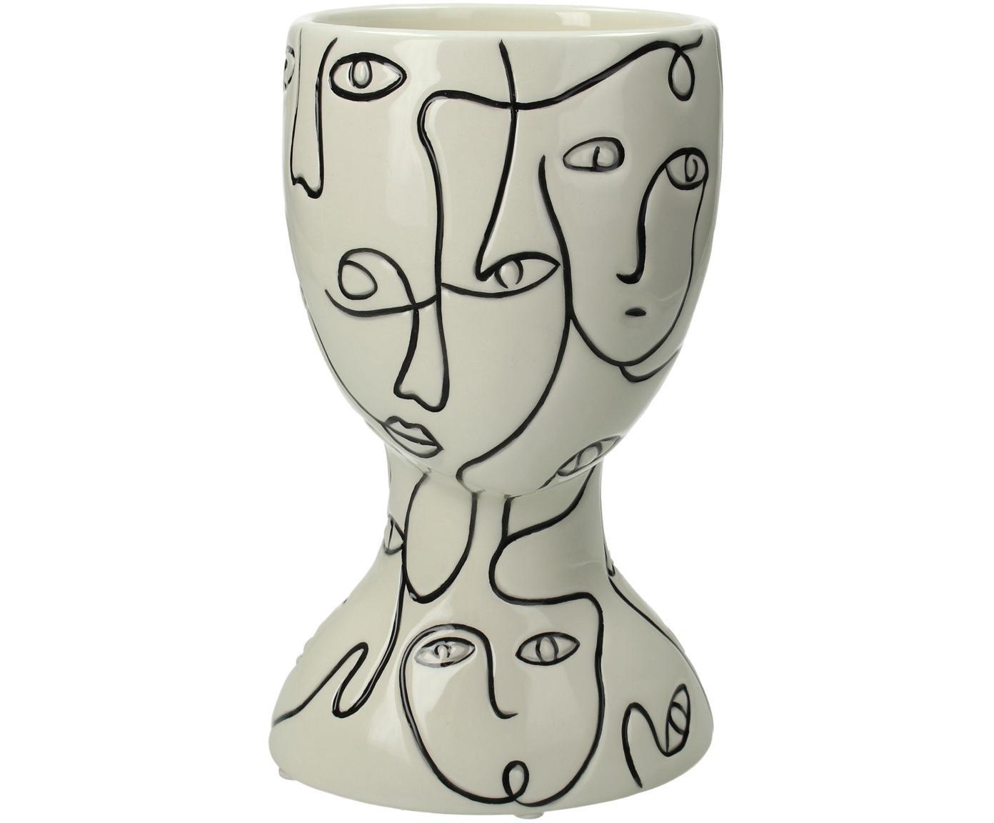 Plantenpot Faces, Keramiek, Gebroken wit, zwart, 12 x 20 cm