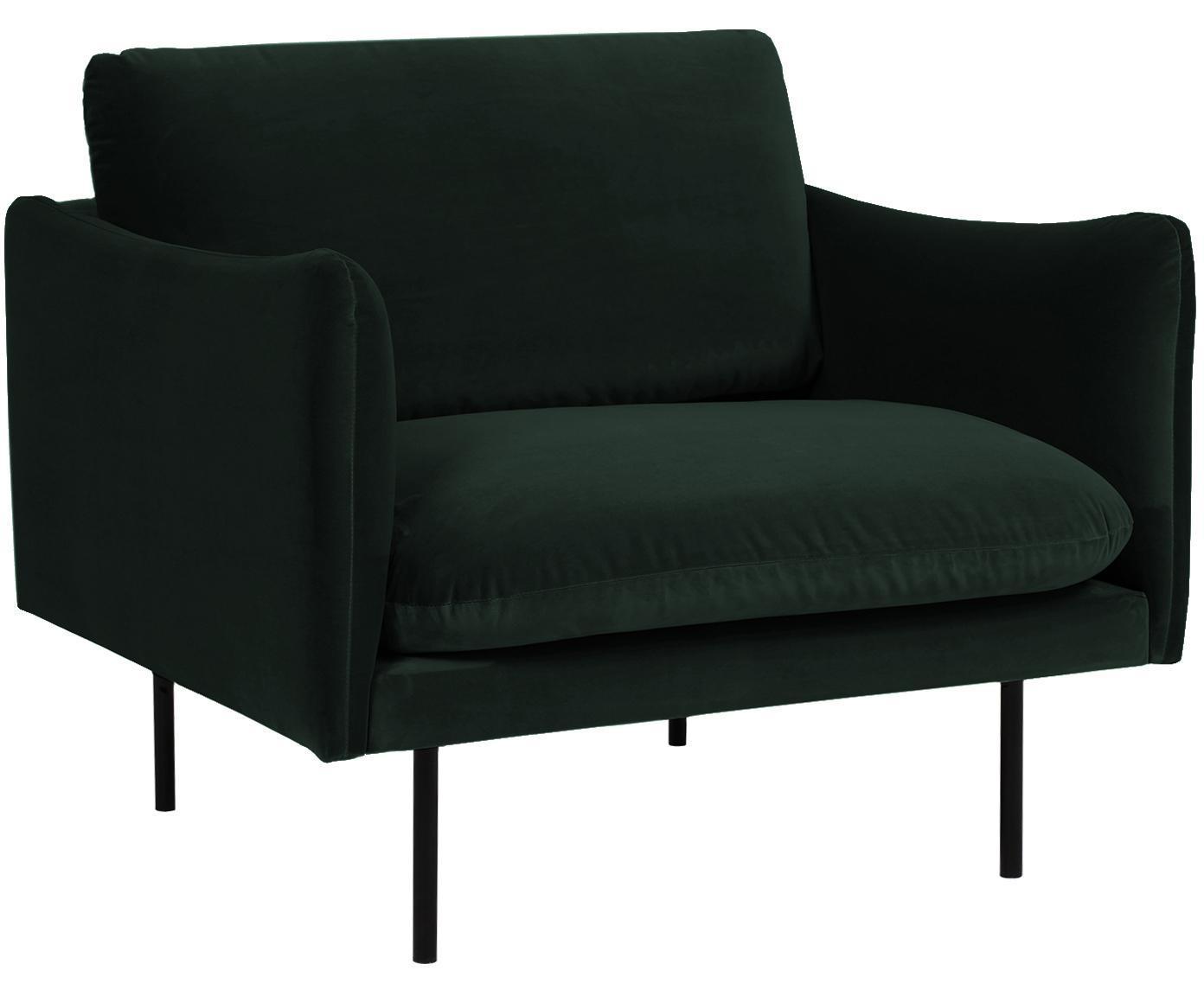 Fluwelen fauteuil Moby, Bekleding: fluweel (hoogwaardige pol, Frame: massief grenenhout, Poten: gepoedercoat metaal, Donkergroen, B 90 x D 90 cm