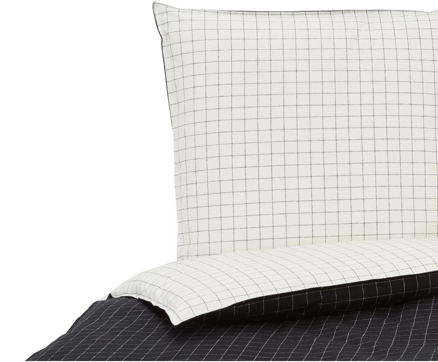 Flanell-Wendebettwäsche Myken, kariert, Webart: Flanell Flanell ist ein s, Schwarz, Weiß, 135 x 200 cm + 1 Kissen 80 x 80 cm