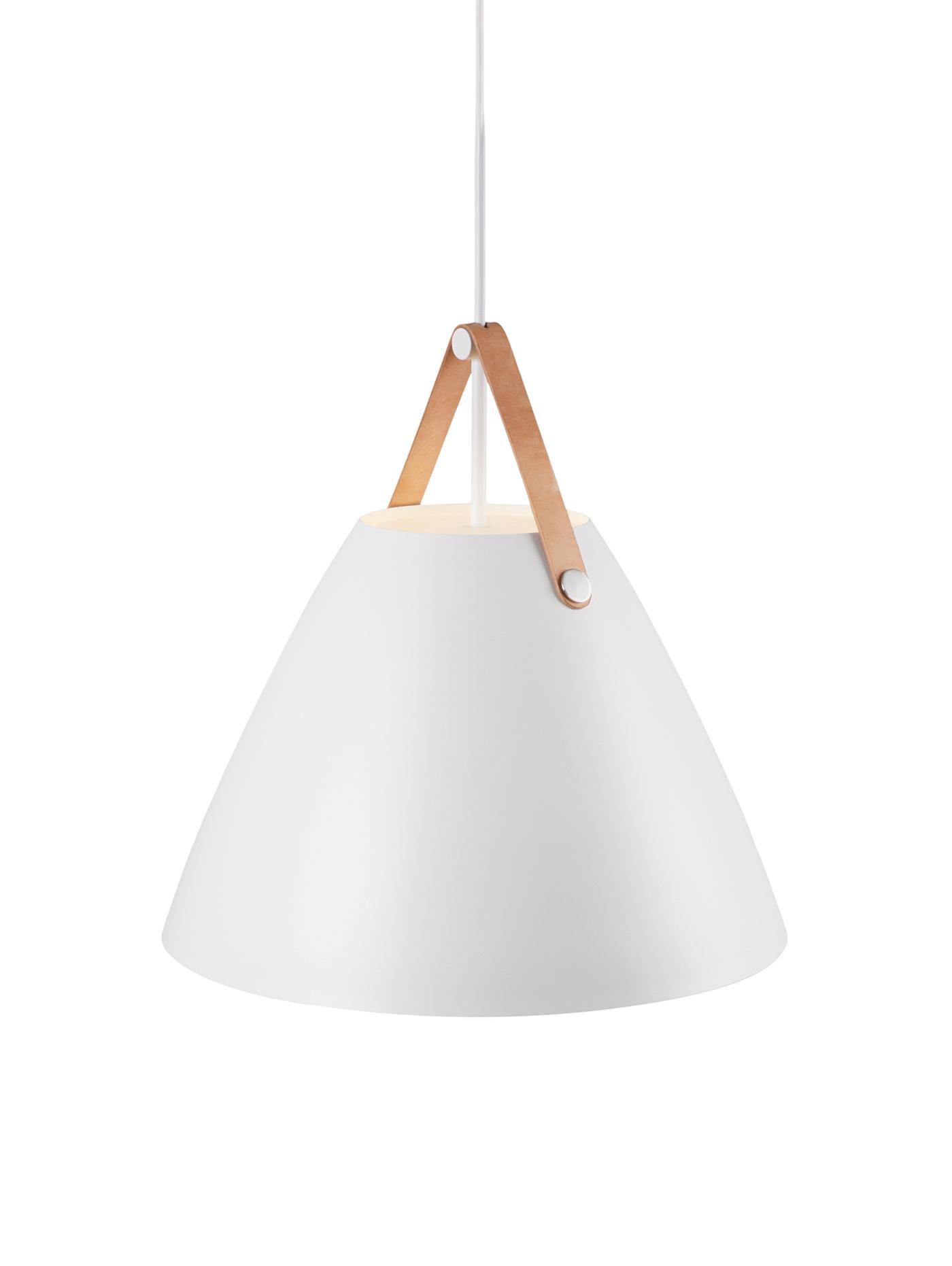 Pendelleuchte Strap mit austauschbarem Lederband, Lampenschirm: Metall, pulverbeschichtet, Baldachin: Kunststoff, Weiß, Ø 48 x H 46 cm