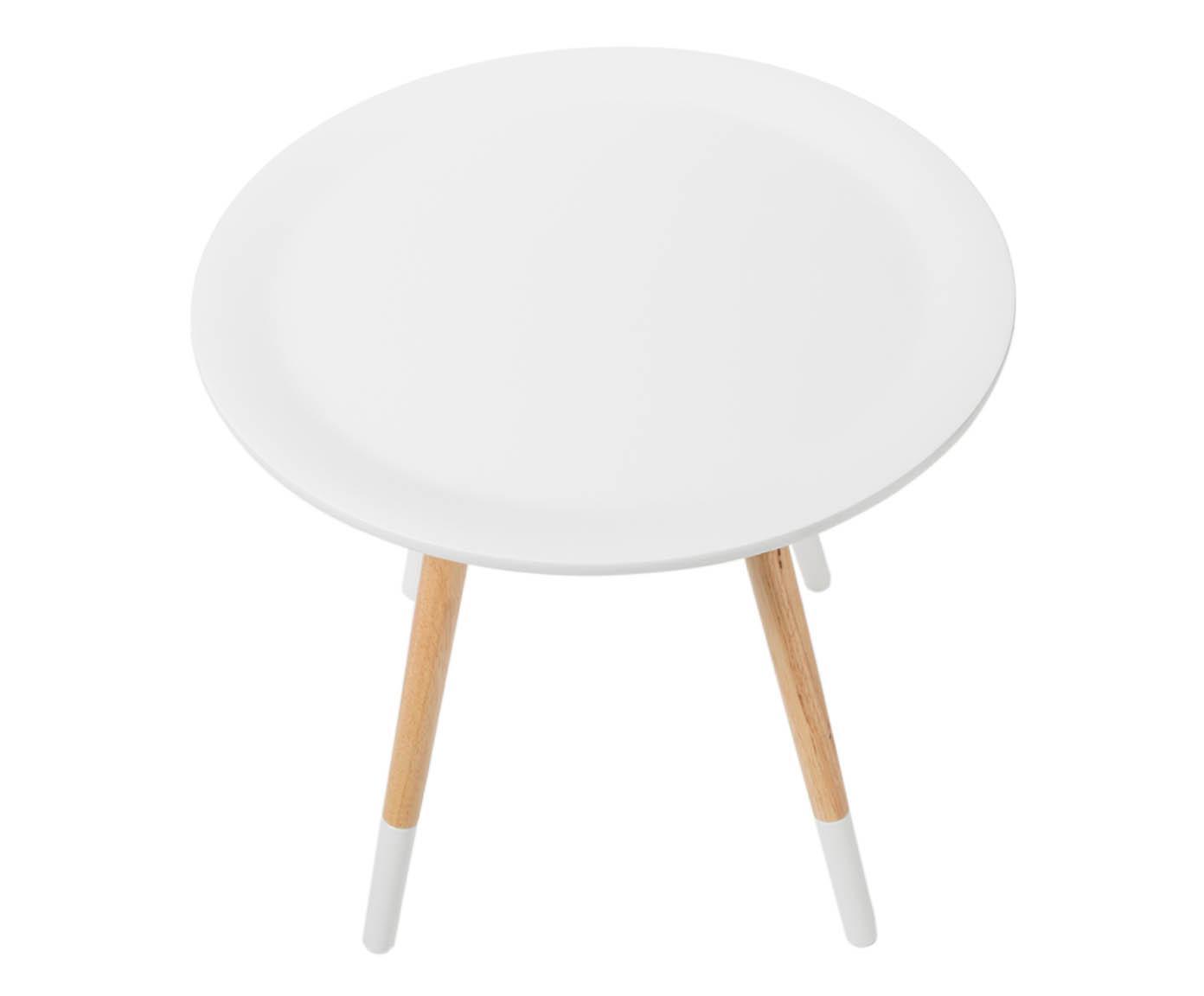 Beistelltisch Two Tone, Tischplatte: Mitteldichte Holzfaserpla, Weiß, Kautschukholz, Ø 48 x H 48 cm