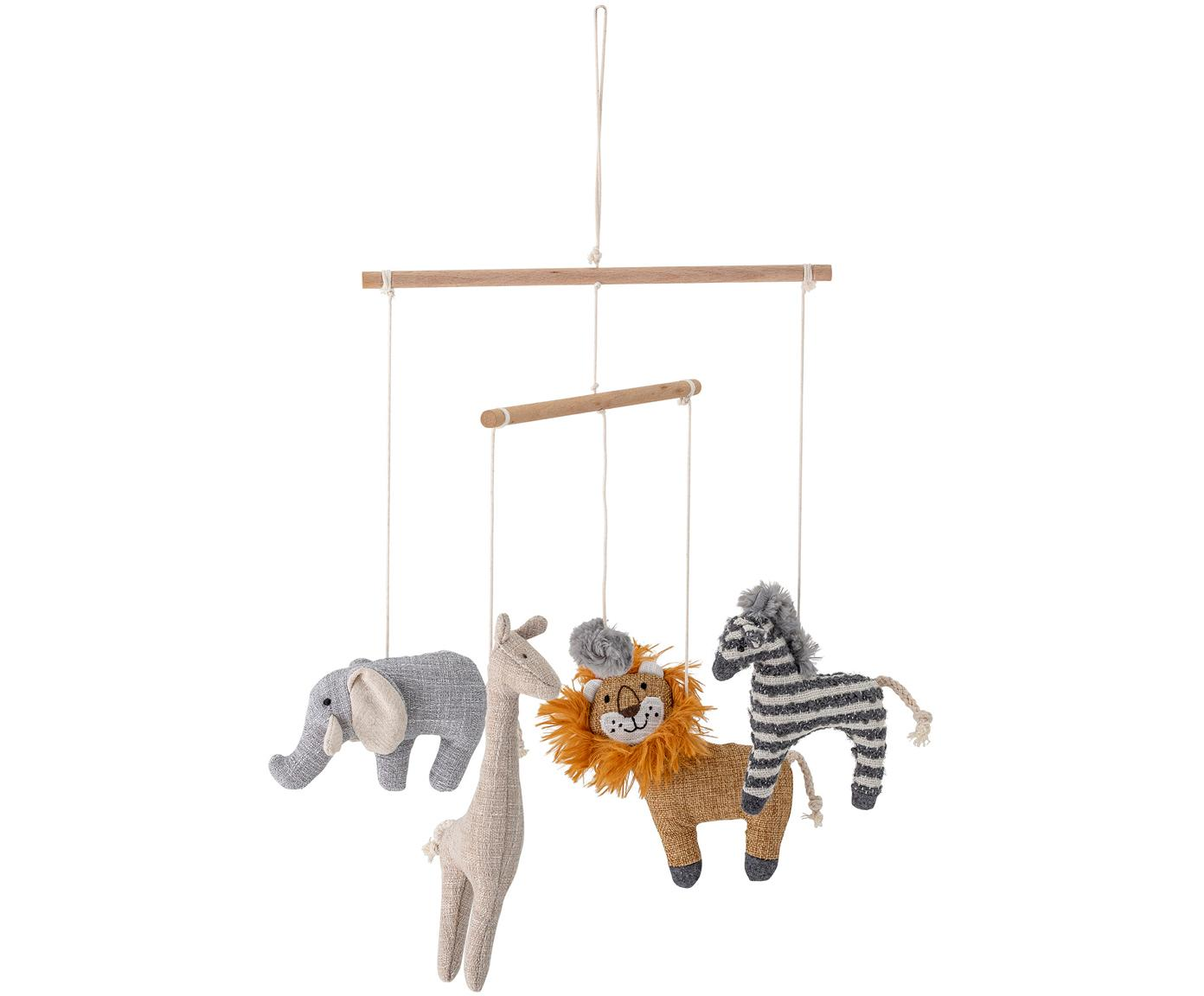 Babymobiel Animals, Polyester, linnen, berkenhout, Multicolour, Ø 26 cm