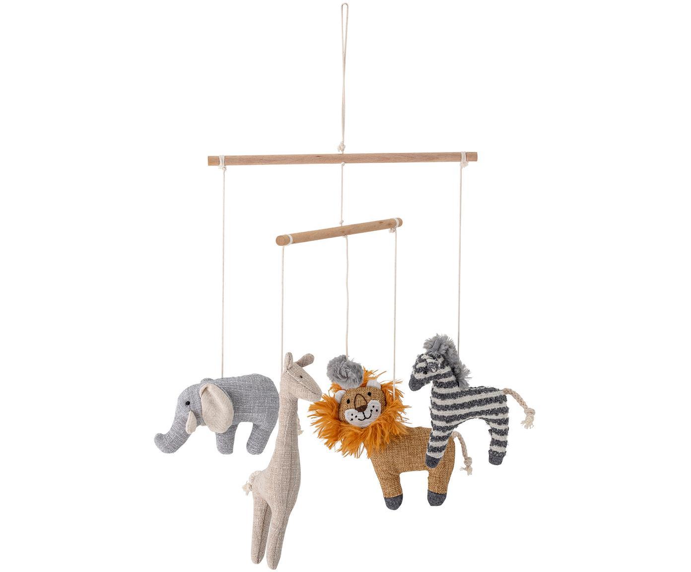 Móvil bebé Animals, Poliéster, lino, madera de abedul, Multicolor, Ø 26 x Al 31 cm