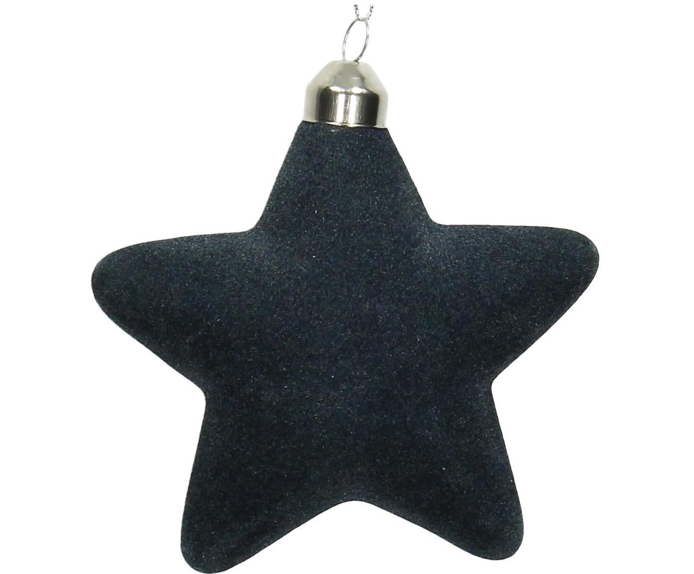 Baumanhänger Star, 4 Stück, Dunkelblau, 10 x 10 cm