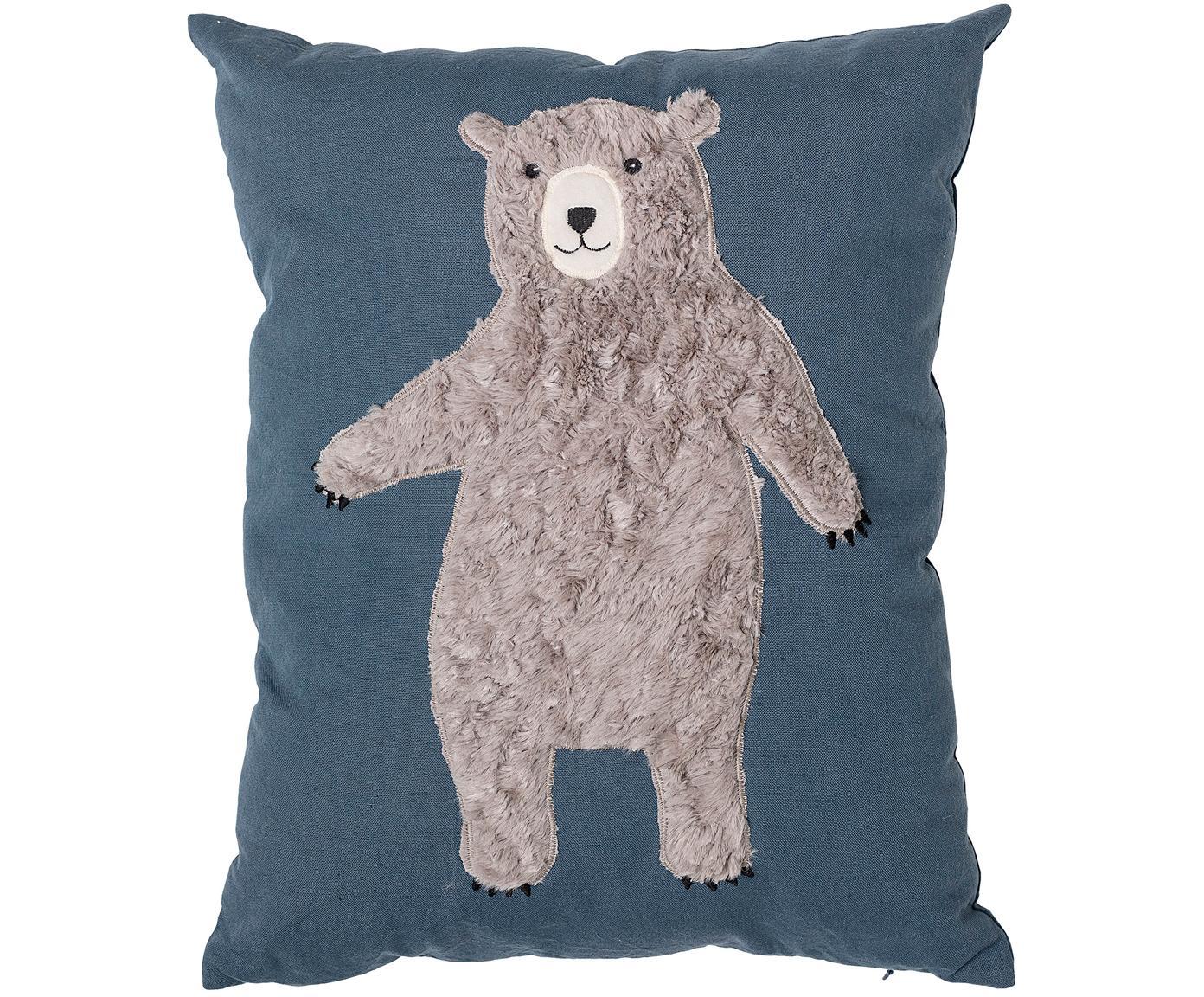 Cuscino imbottito con orso Bear, Rivestimento: 70%cotone, 30%poliester, Blu, marrone, Larg. 40 x Lung. 50 cm