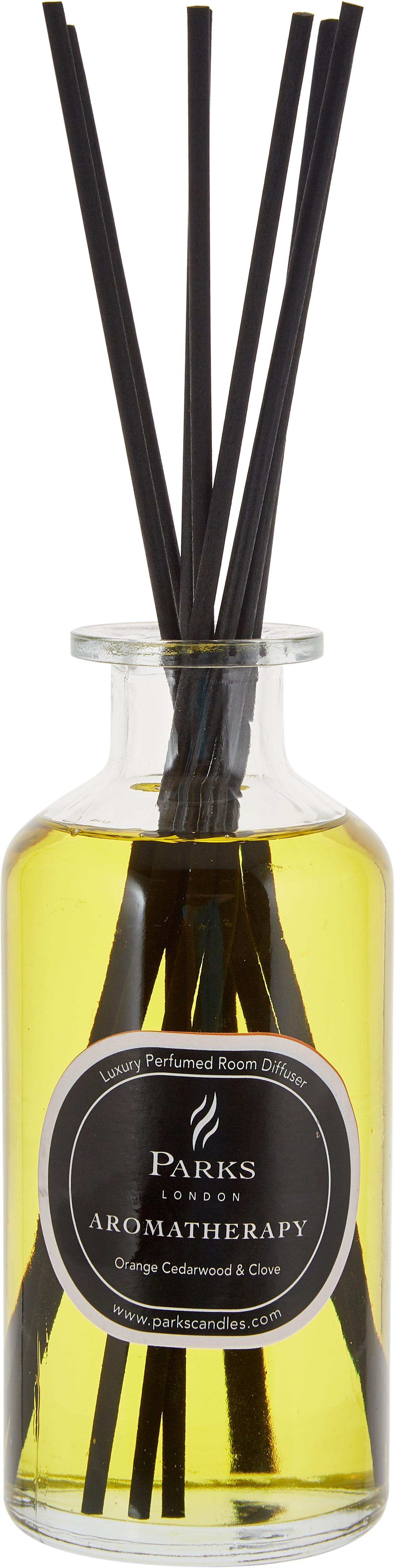Diffuser Aromatherapy (sinaasappel, cederhout & kruidnagel), Sluiting: hout, Zwart, wit, Ø 6 x H 14 cm