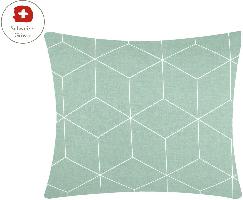 Baumwoll-Kissenbezug Lynn mit grafischem Muster, Webart: Renforcé Fadendichte 144 , Mint, Cremeweiss, 65 x 65 cm