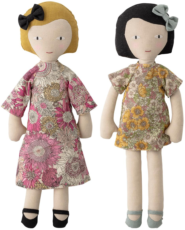 Stoffen poppenset  Girls, 2-delig, Bekleding: 65% polyester, 35% katoen, Multicolour, 10 x 36 cm