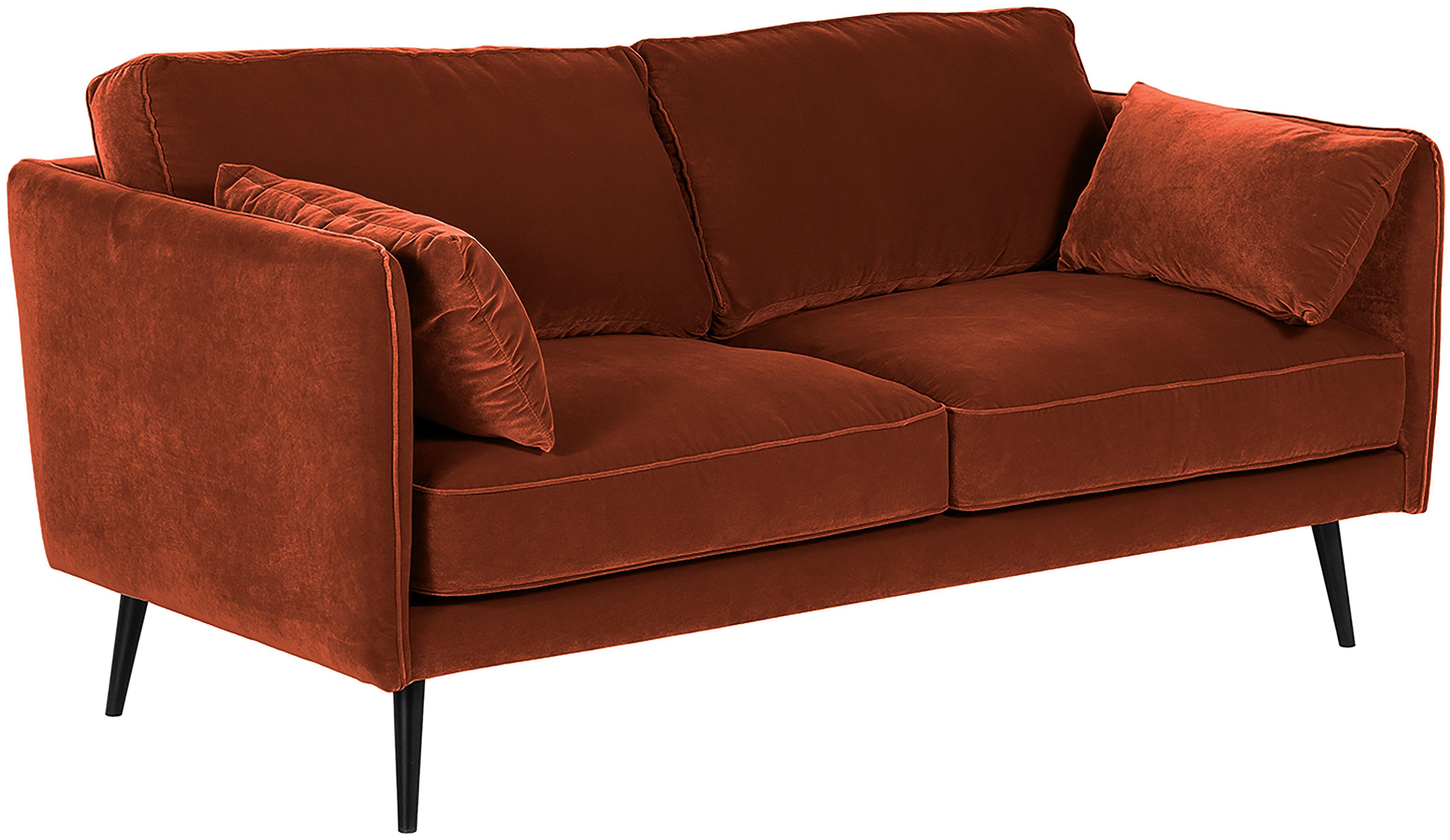 Fluwelen bank Paola (2-zits), Bekleding: fluweel (polyester), Frame: massief grenenhout, spaan, Poten: gelakt grenenhout Het FSC, Roodbruin, B 179 x D 95 cm