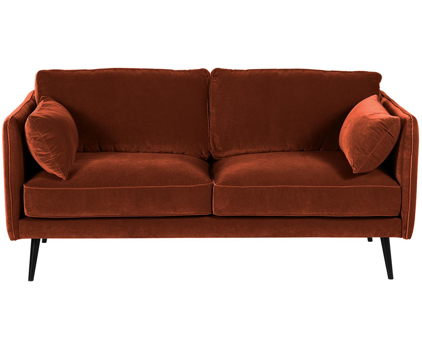 Samt-Sofa Paola (2-Sitzer), Bezug: Samt (Polyester) 70.000 S, Gestell: Massives Fichtenholz, Spa, Samt Rostrot, B 179 x T 95 cm