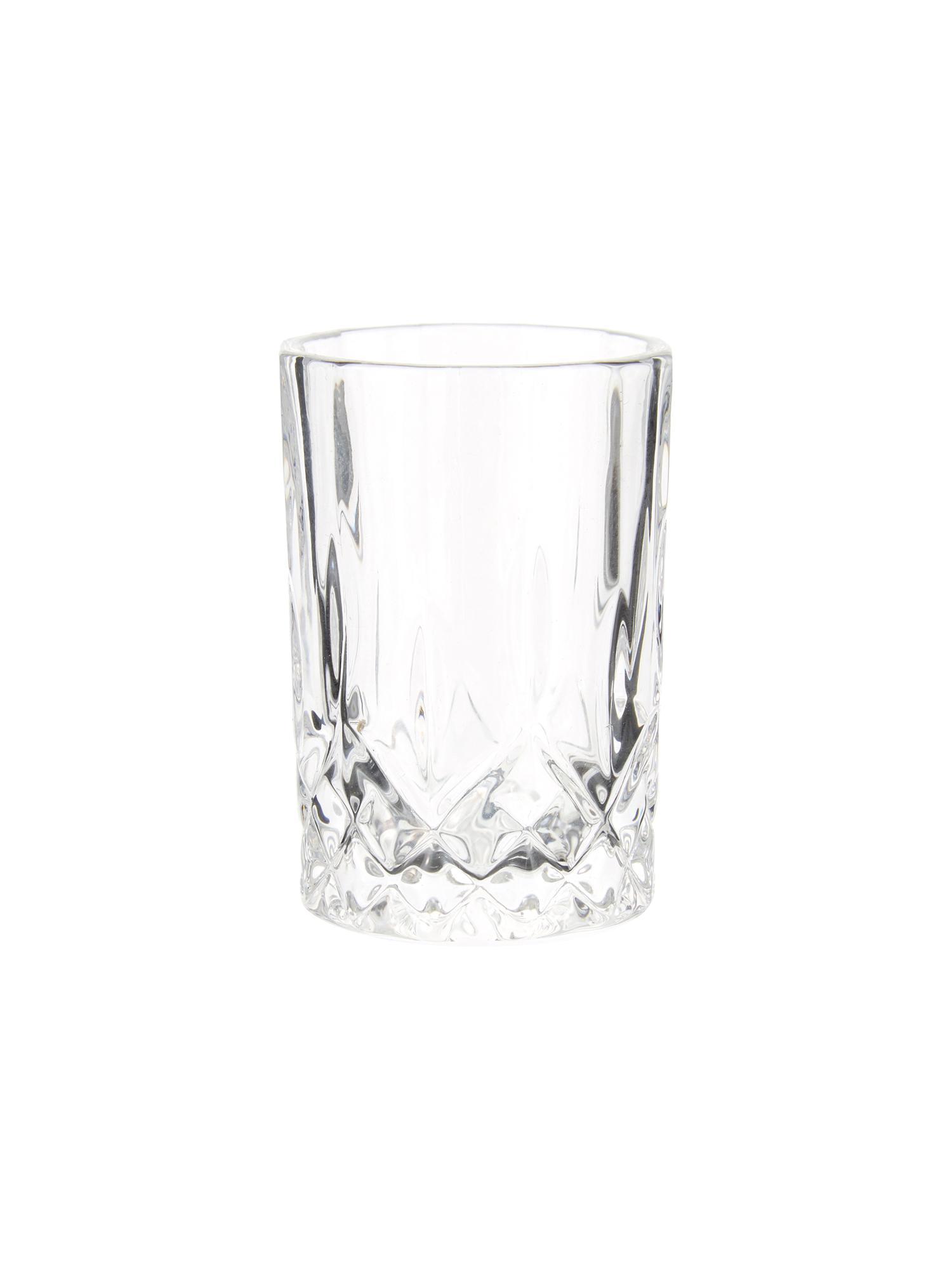 Verres à liqueur à motifs embossés Harvey, 4pièces, Transparent