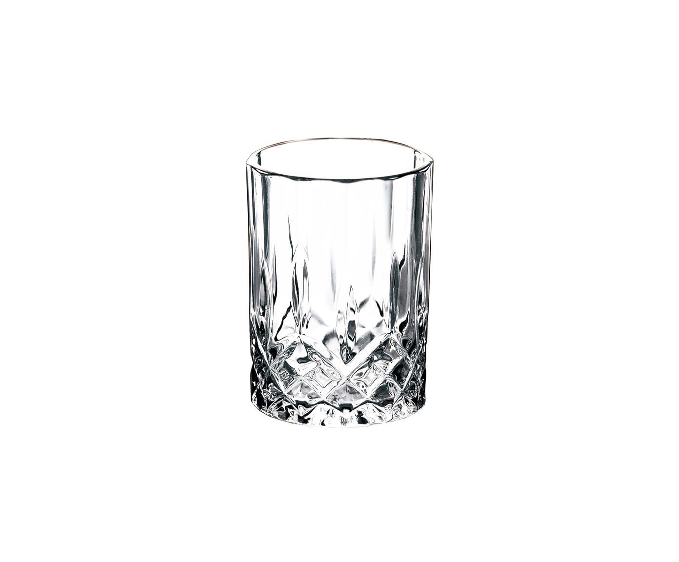 Vasos chupito con relieve Harvey, 4uds., Vidrio, Transparente, Ø 6 x Al 8 cm