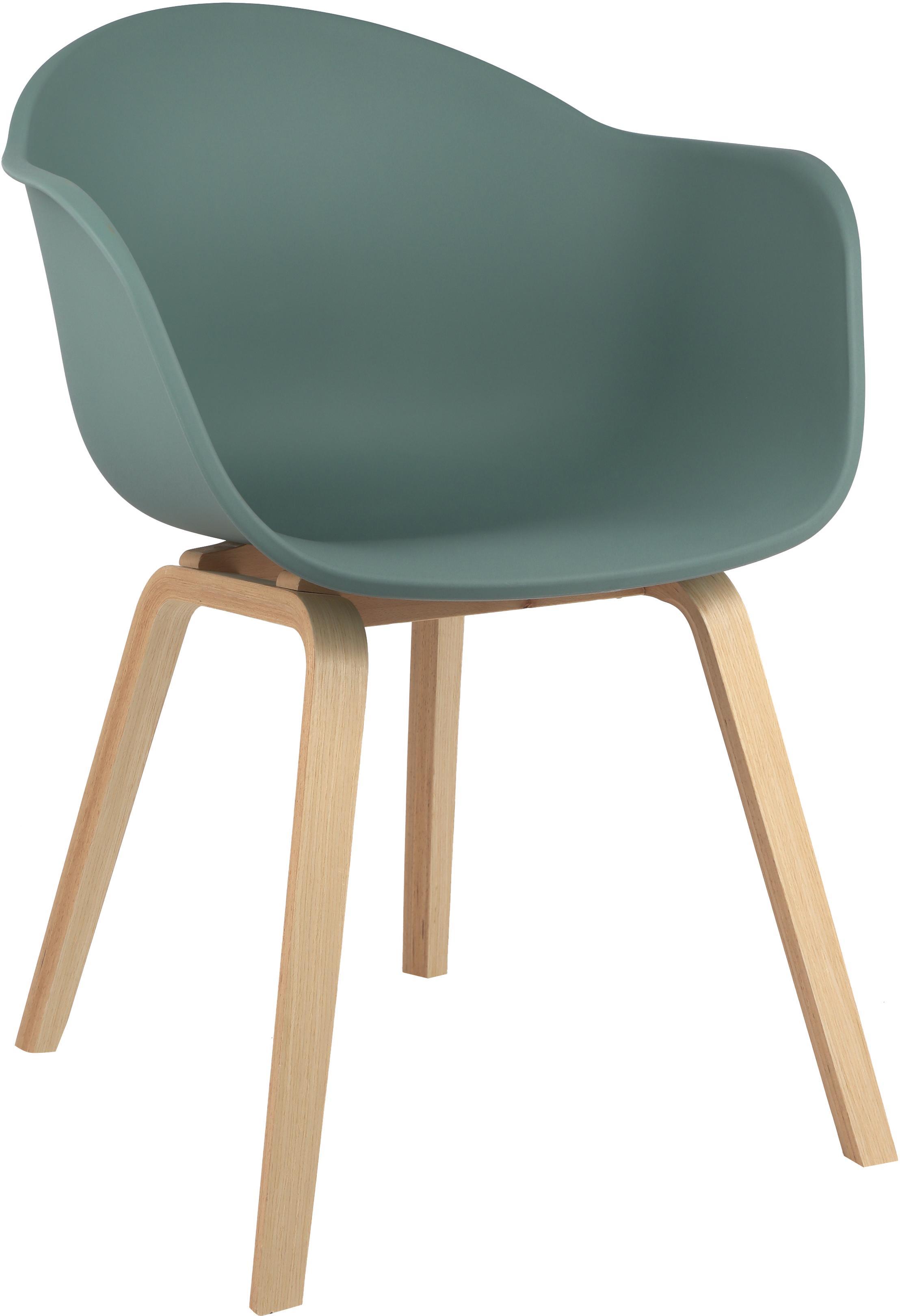 Kunststoffen armstoel Claire met houten poten, Zitvlak: kunststof, Poten: beukenhout, Zitvlak: groen. Poten: beukenhoutkleurig, B 61 x D 58 cm