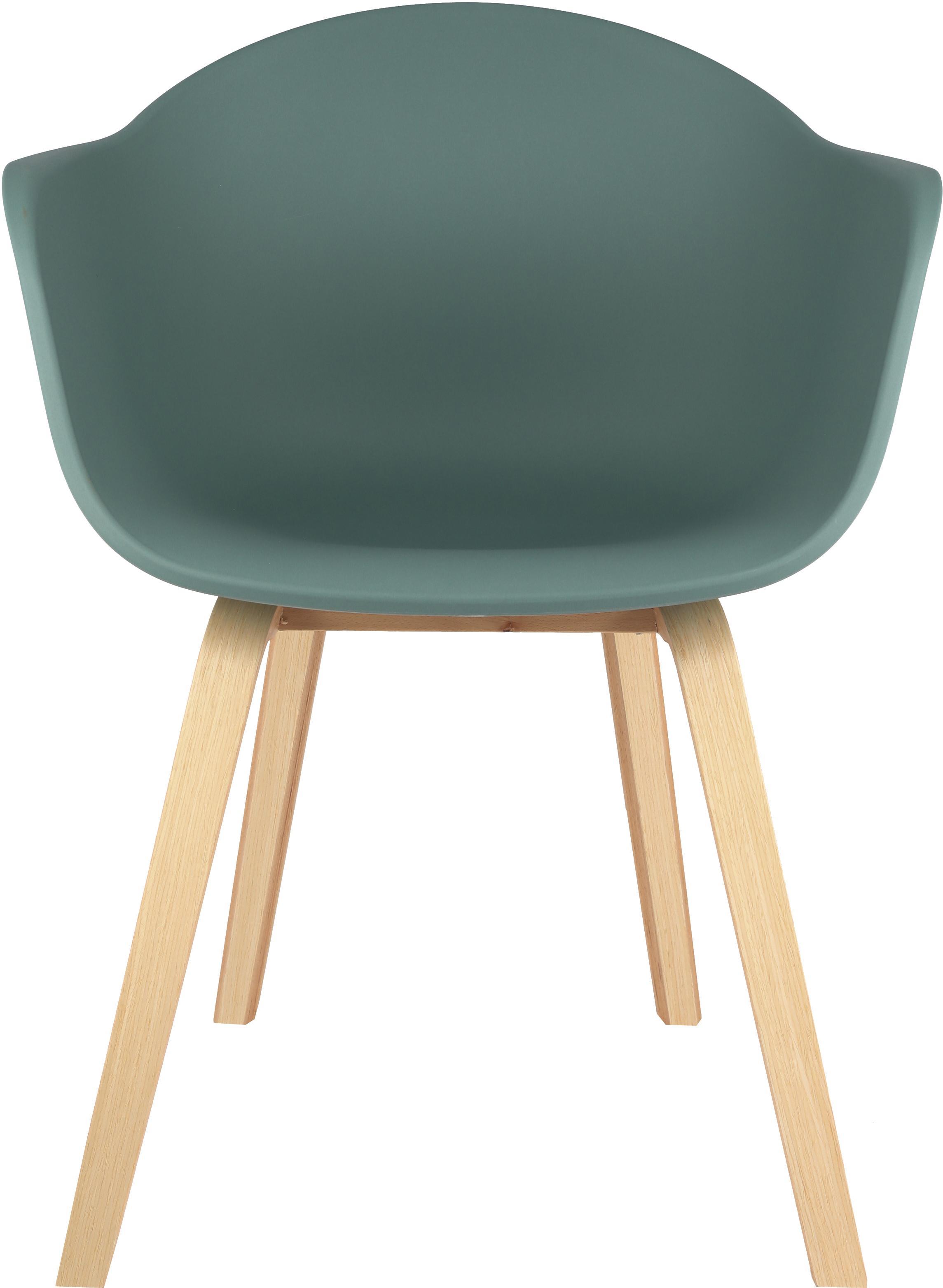 Kunststoff-Armlehnstuhl Claire mit Holzbeinen, Sitzschale: Kunststoff, Beine: Buchenholz, Kunststoff Grün, B 54 x T 60 cm