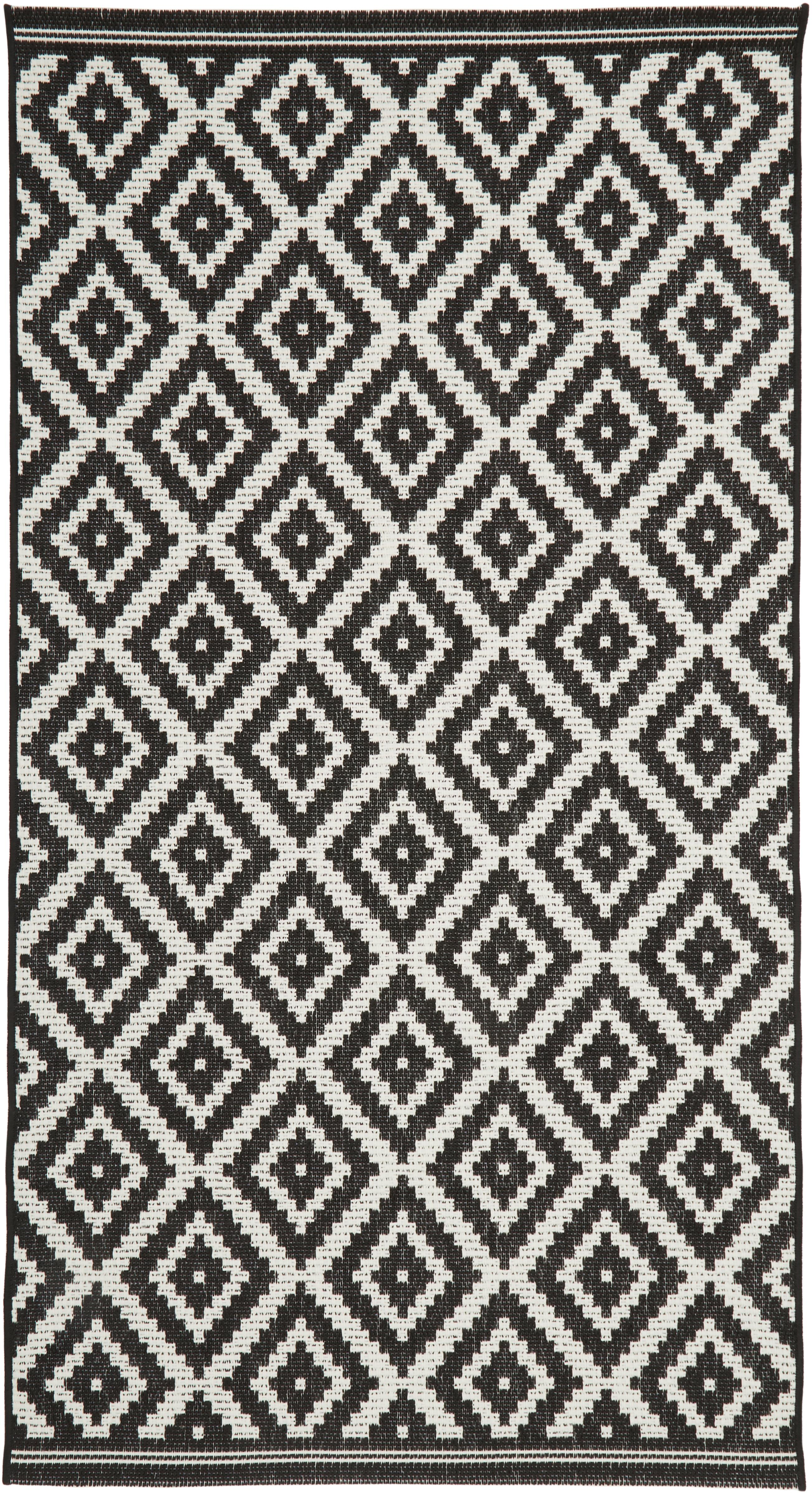Dywan wewnętrzny/zewnętrzny Miami, Kremowobiały, czarny, S 80 x D 150 cm (Rozmiar XS)