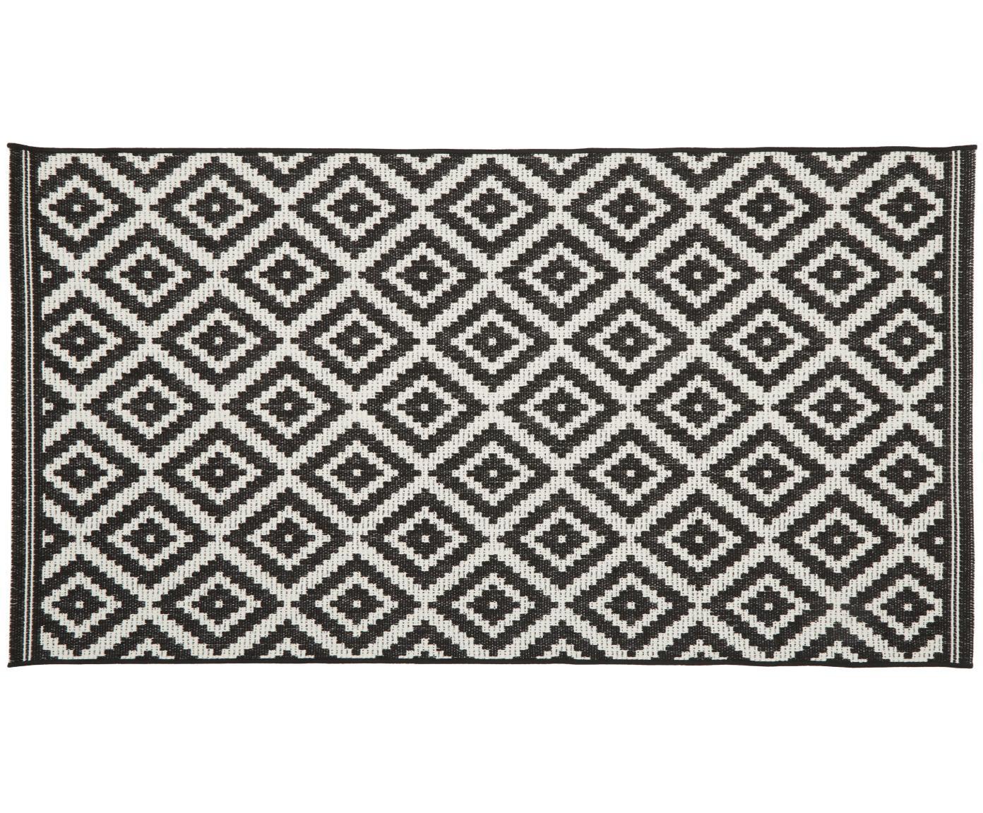 Alfombra de interior/exterior Miami, Parte superior: polipropileno, Reverso: poliéster, Blanco crema, negro, An 80 x L 150 cm (Tamaño XS)