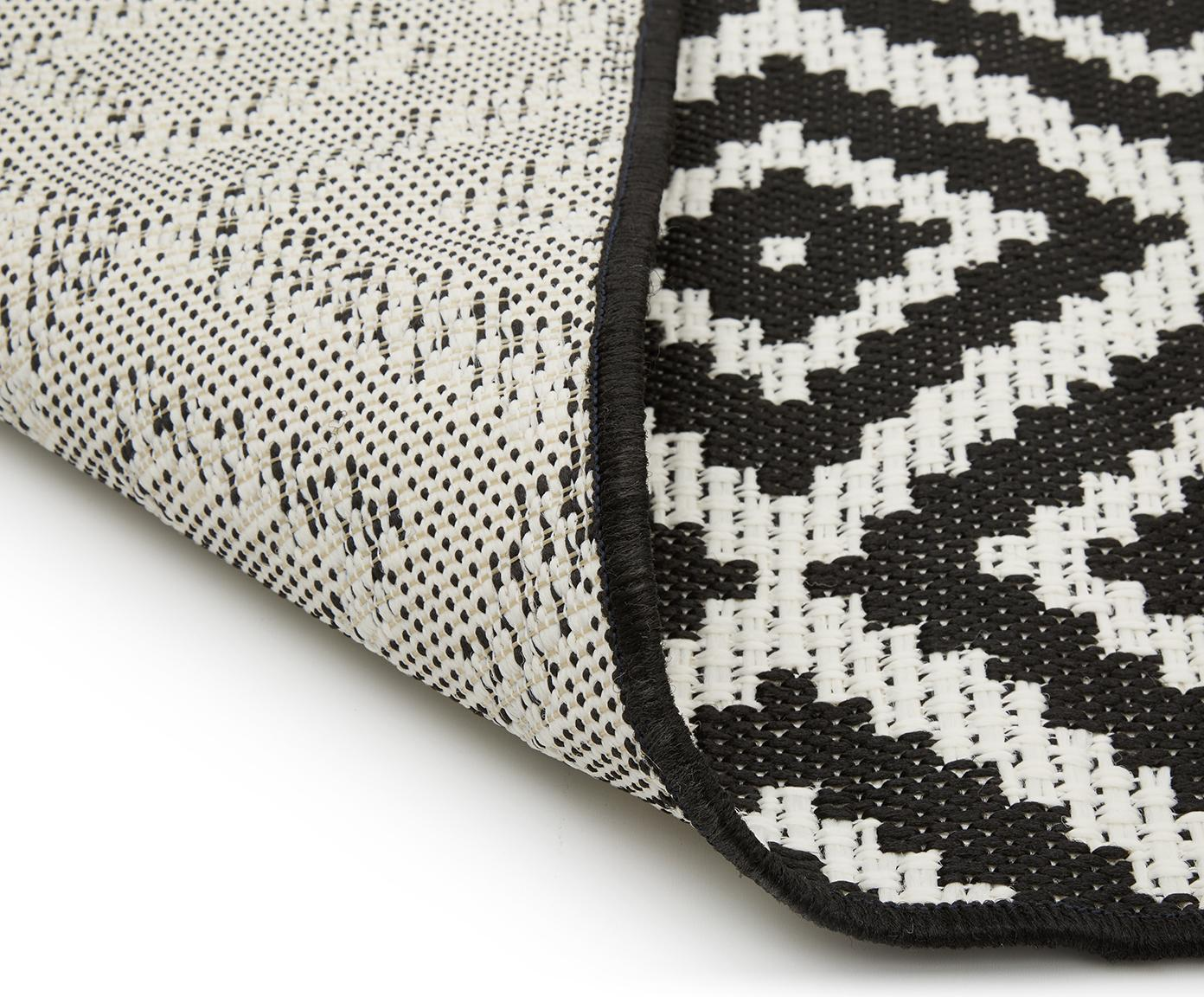 In- & outdoor vloerkleed met patroon Miami in zwart/wit, Bovenzijde: polypropyleen, Onderzijde: polyester, Crèmewit, zwart, B 200 x L 290 cm (maat L)