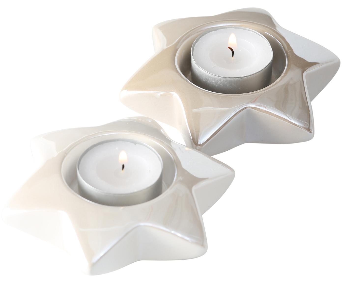 Waxinelichthoudersset Star, 2-delig, Keramiek, Crèmekleurig, beige, Ø 11 x H 3 cm