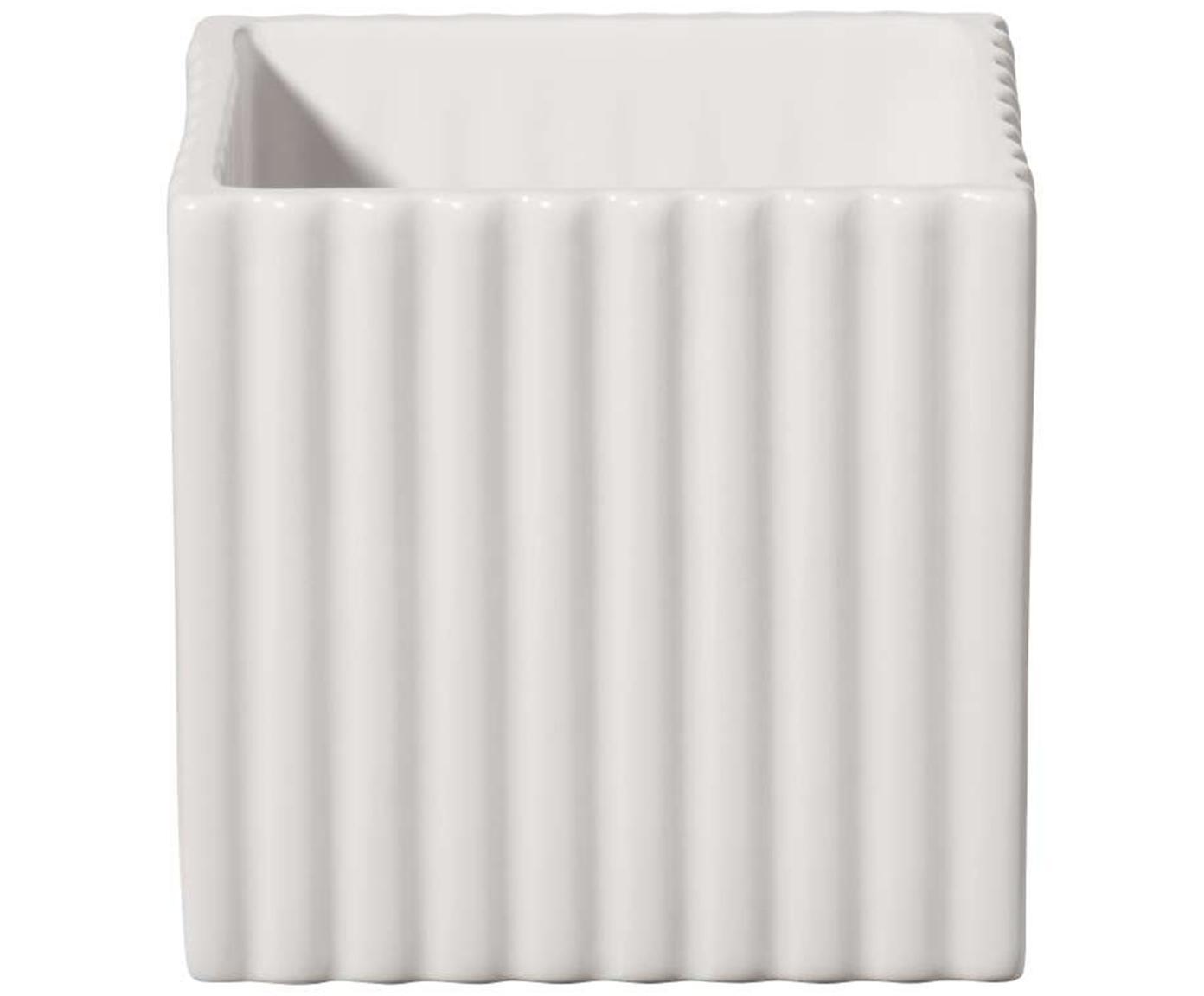 Übertopf Quadro, Keramik, Weiß, 10 x 10 cm