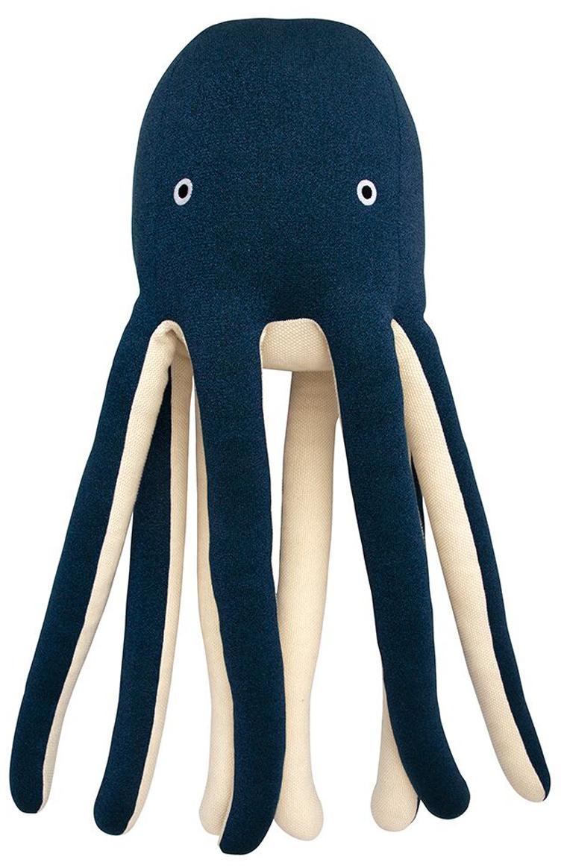 Przytulanka XL z bawełny organicznej Octopus Cosmo, Bawełna organiczna, Ciemnyniebieski, kremowy, S 33 x W 81 cm