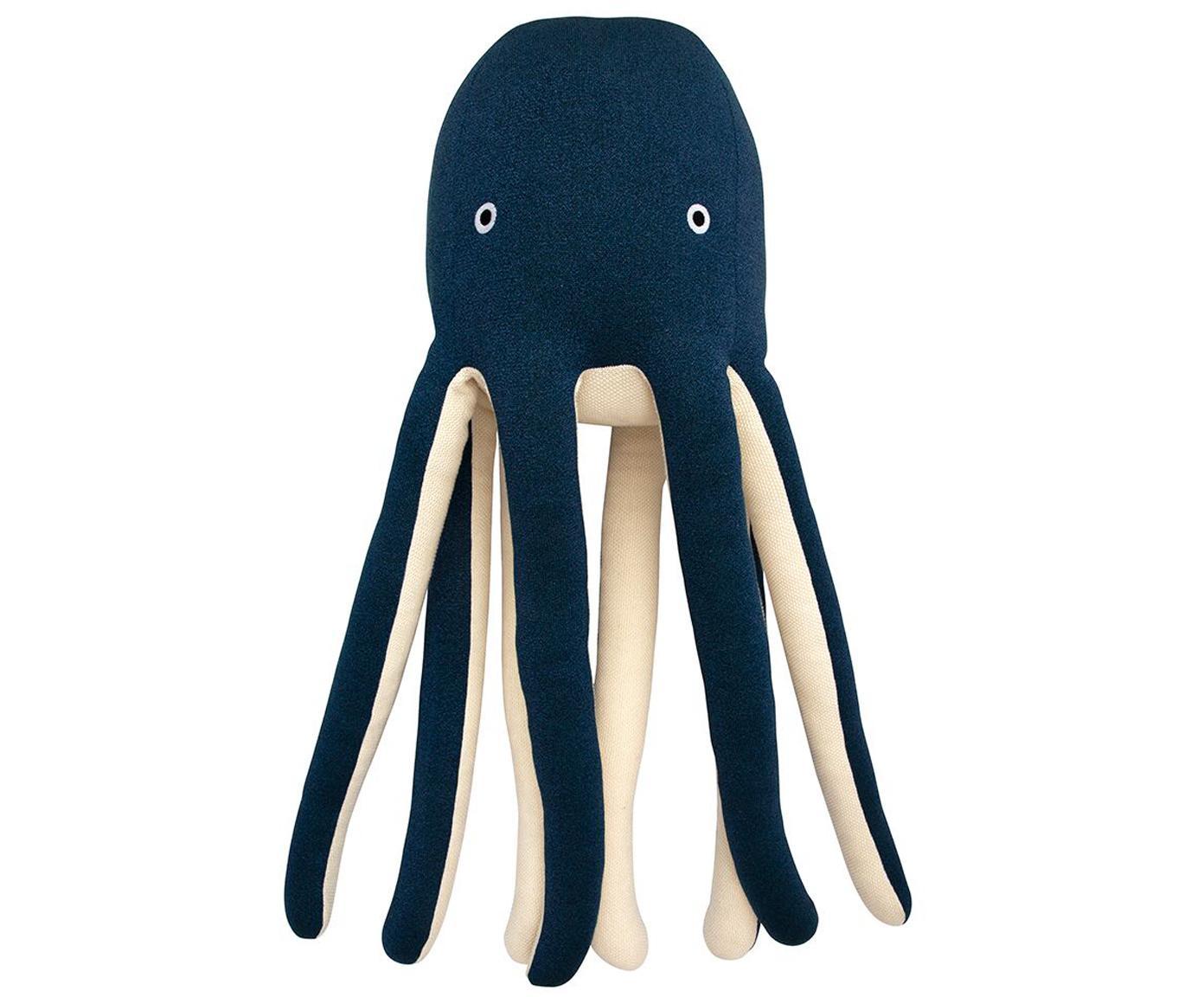 XL Kuscheltier Octopus Cosmo aus Bio-Baumwolle, Bio-Baumwolle, OCS-zertifiziert, Dunkelblau, Creme, 33 x 81 cm