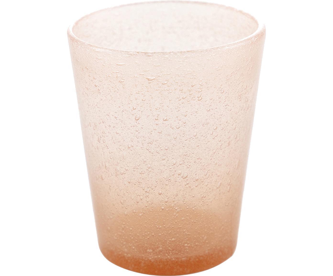 Bicchiere acqua Cancun 6 pz, Vetro soffiato, Salmone, Ø 8 x Alt. 10 cm