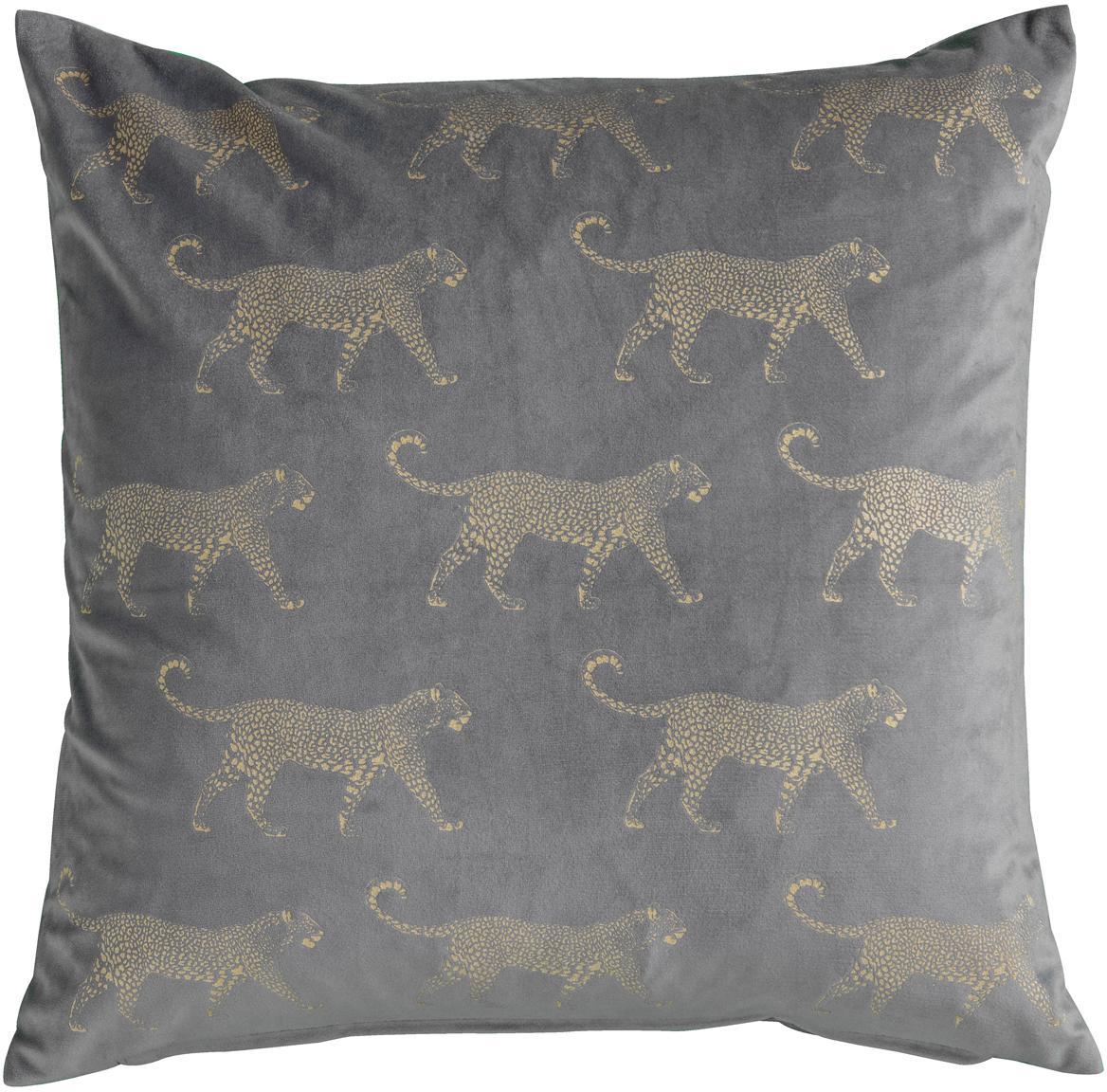 Fluwelen kussen Leopard, met vulling, Polyester fluweel, Grijs, goudkleurig, 45 x 45 cm