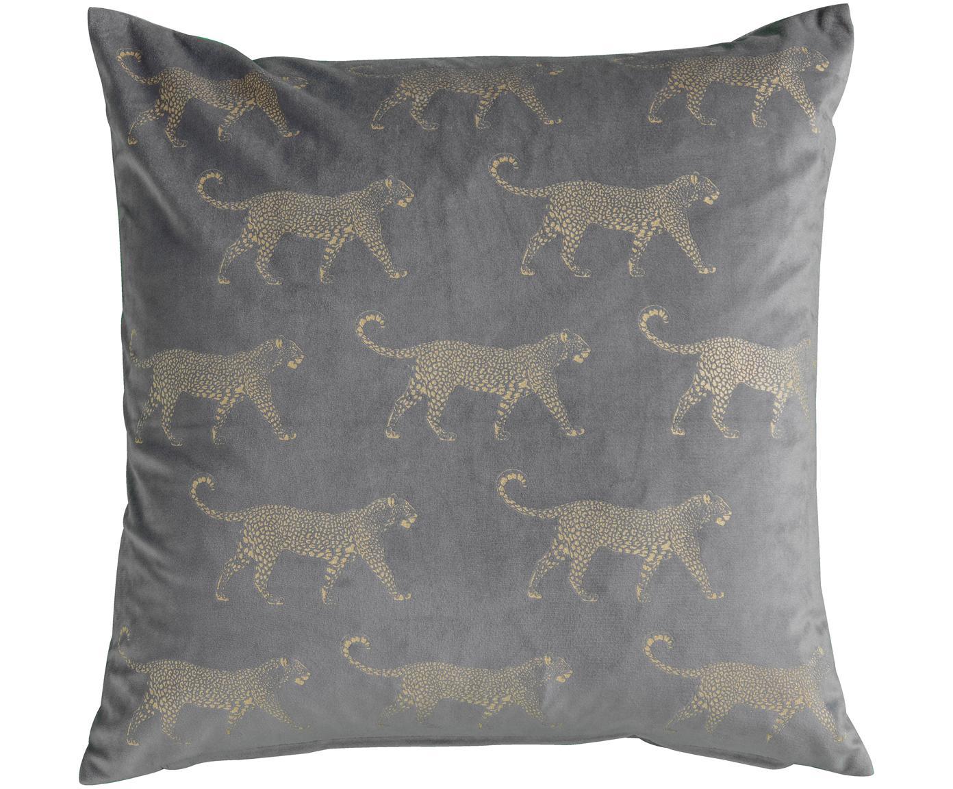 Cojín de terciopelo Leopard, con relleno, Tapizado: 100%terciopelo de poliés, Gris, dorado, An 45 x L 45 cm