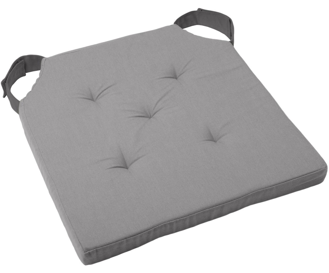 Sitzkissen Duo in Grau, Bezug: Baumwolle, Grau, 40 x 40 cm