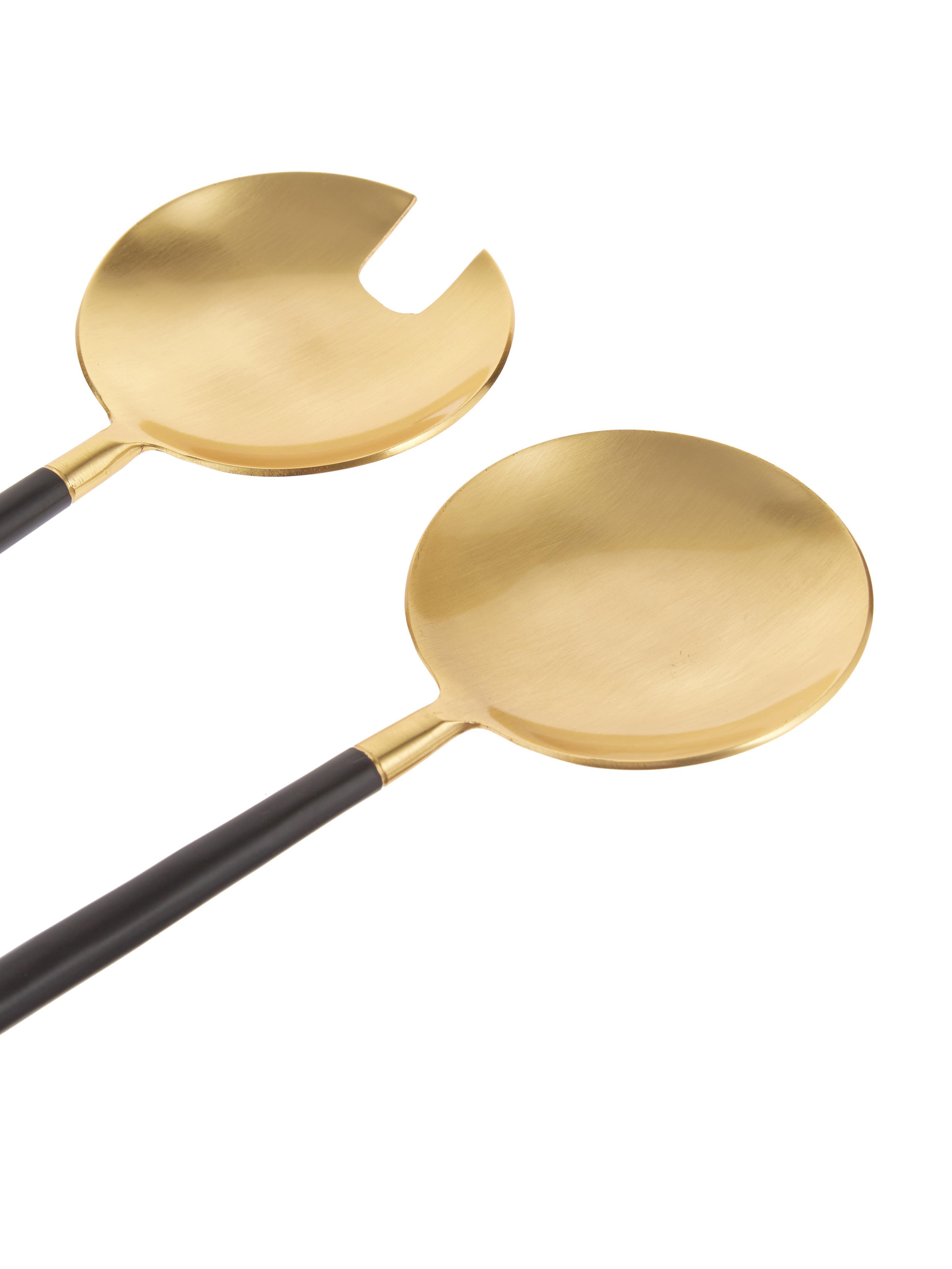 Couverts à salade dorés avec manche noire Amine, 2élém., Noir, couleur dorée