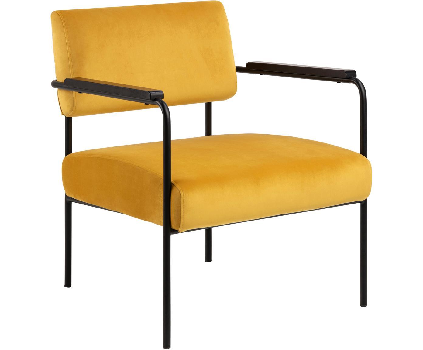 Fluwelen lounge fauteuil Cloe, Bekleding: polyester fluweel, Frame: gecoat metaal, Geel, zwart, 67 x 67 cm