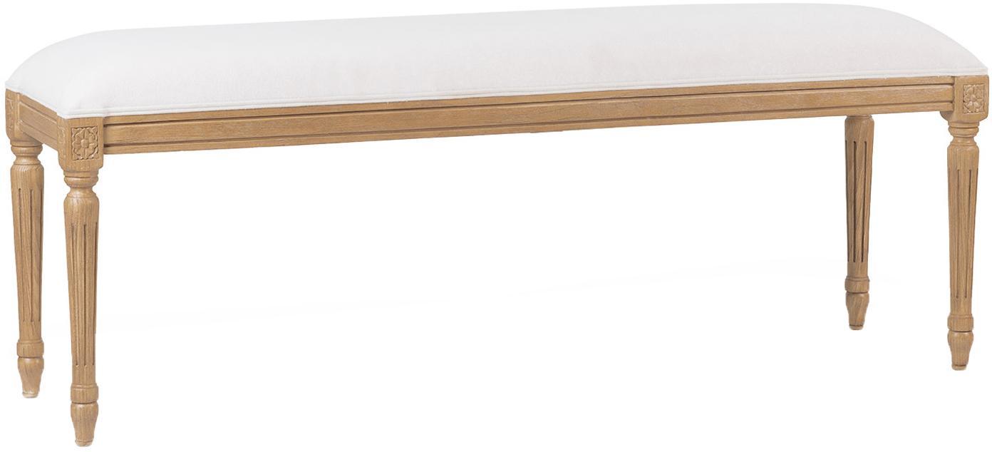 Banco artesanal París, Tapizado: algodón, acrílico, Crudo, roble, An 130 x Al 51 cm